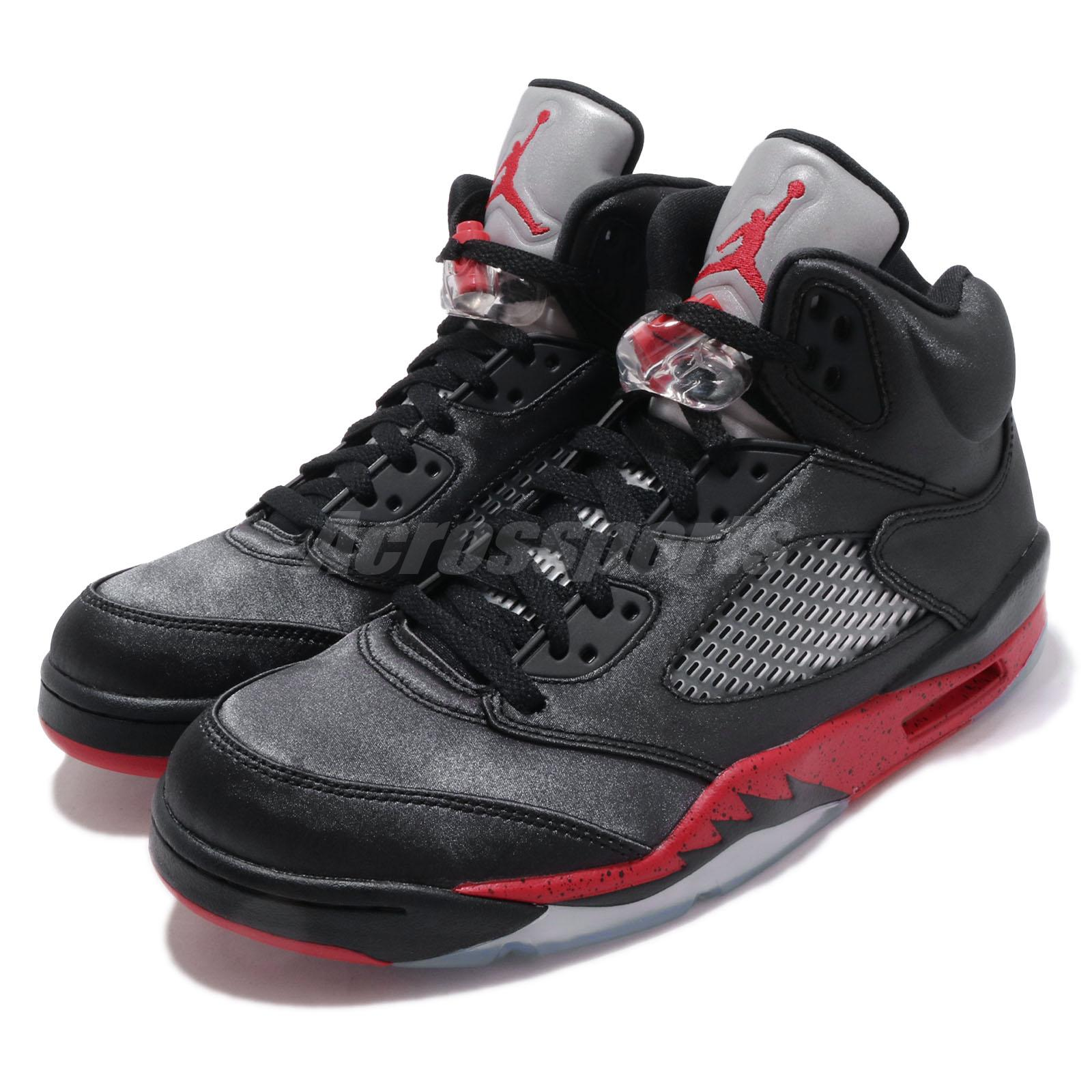 wholesale dealer 9a0de 81e07 Details about Nike Air Jordan 5 Retro V AJ5 Satin Bred Black Red Men Shoes  Sneakers 136027-006