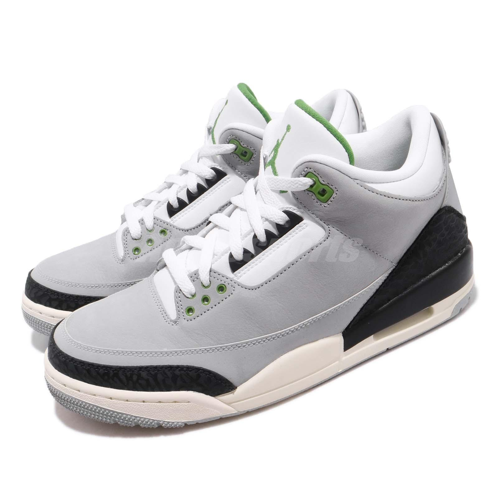 new style 53be6 b3558 Details about Nike Air Jordan 3 Retro Chlorophyll Tinker Smoke Grey Black  Green 136064-006