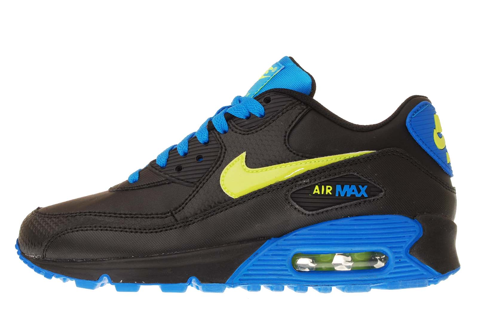 nike air max 90 gs black volt blue boys girls youth womens. Black Bedroom Furniture Sets. Home Design Ideas