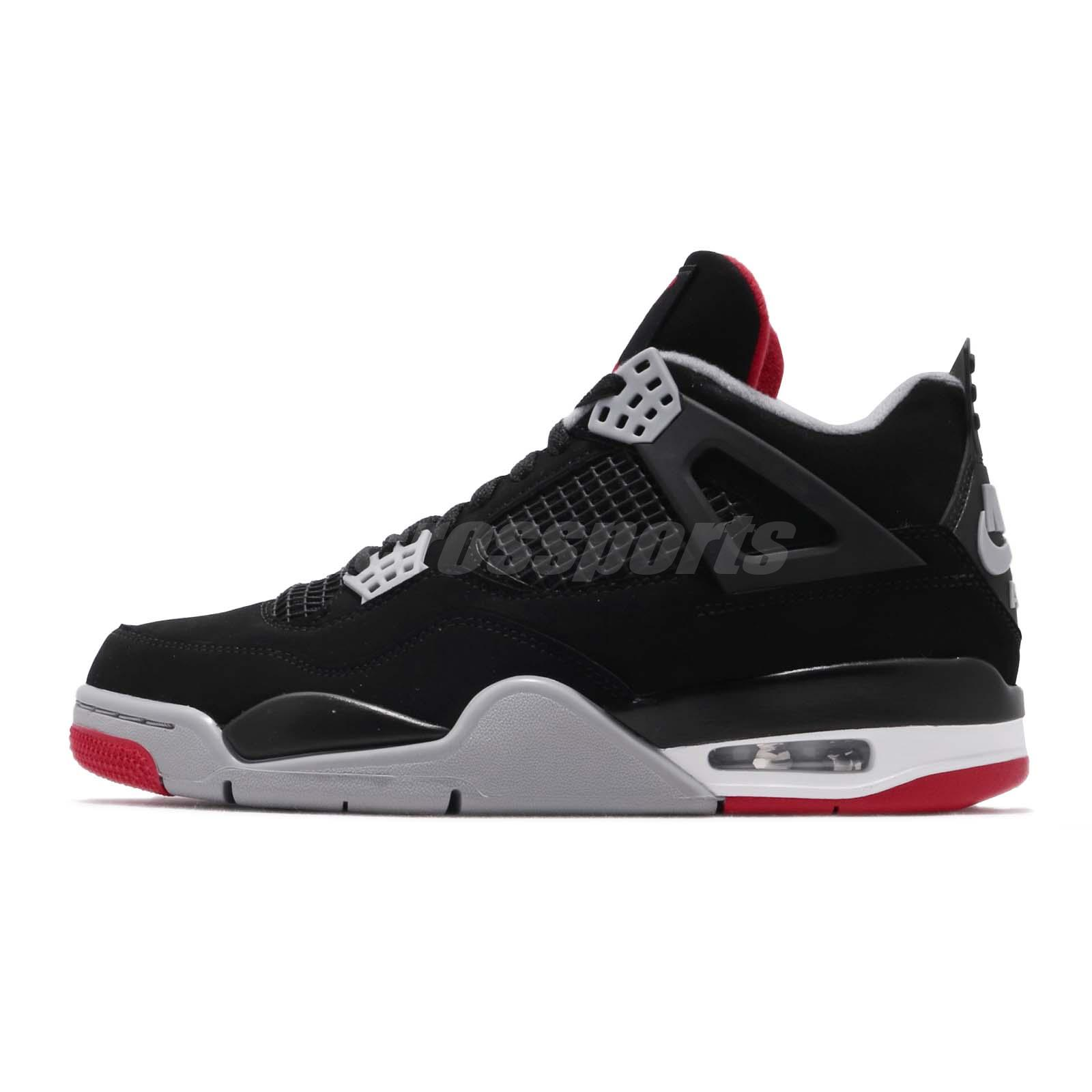 Nike Air Jordan 4 Retro Bred 2019 Iv Aj4 Black Red Men Shoes Sneakers 308497-060 Clothing, Shoes & Accessories Athletic Shoes