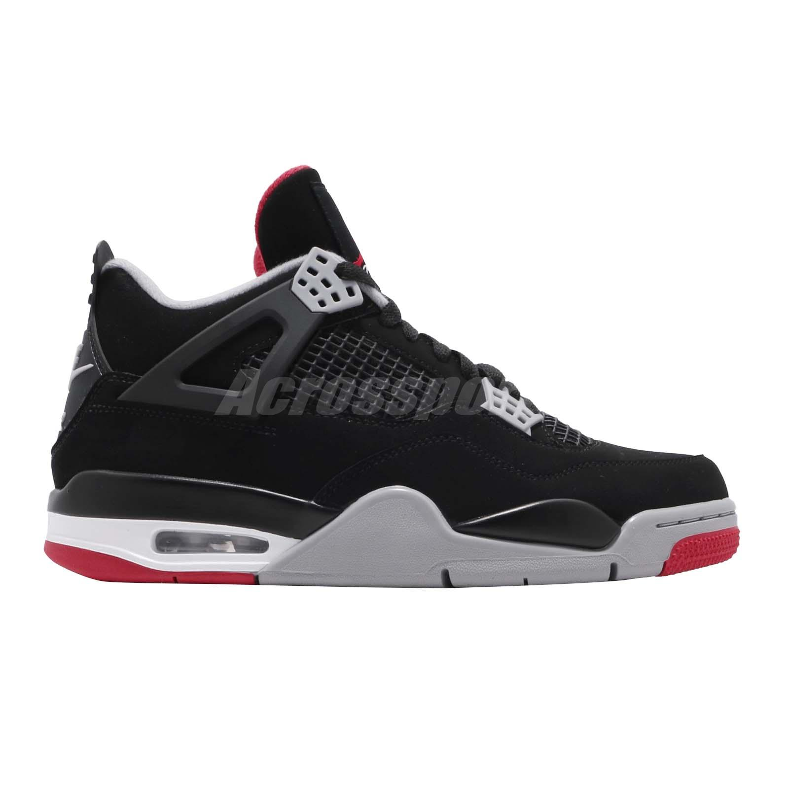 Clothing, Shoes & Accessories Men's Shoes Nike Air Jordan 4 Retro Bred 2019 Iv Aj4 Black Red Men Shoes Sneakers 308497-060