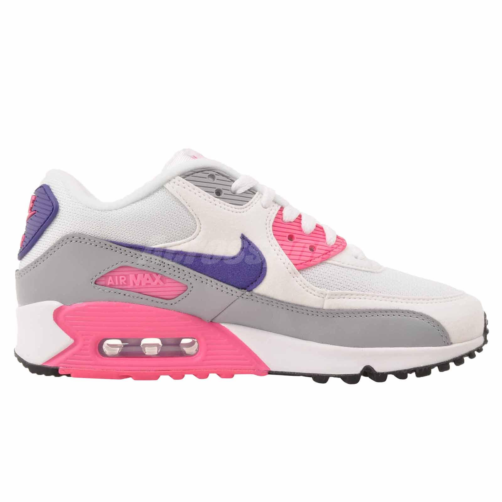 half off 23ee5 6b850 Nike Wmns Air Max 90 Running Womens Shoes White Pink 325213-136   eBay