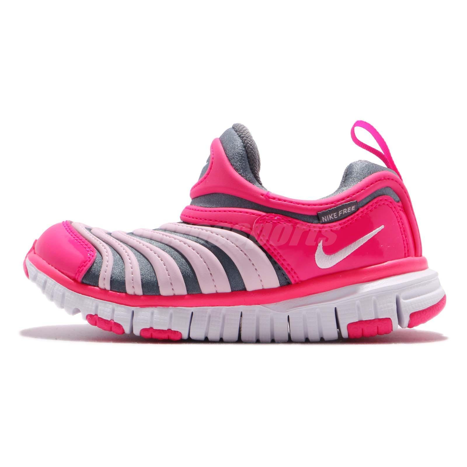 e522289a988137 Nike Dynamo Free PS Grey Pink White Kid Preschool Slip On Shoes 343738-019
