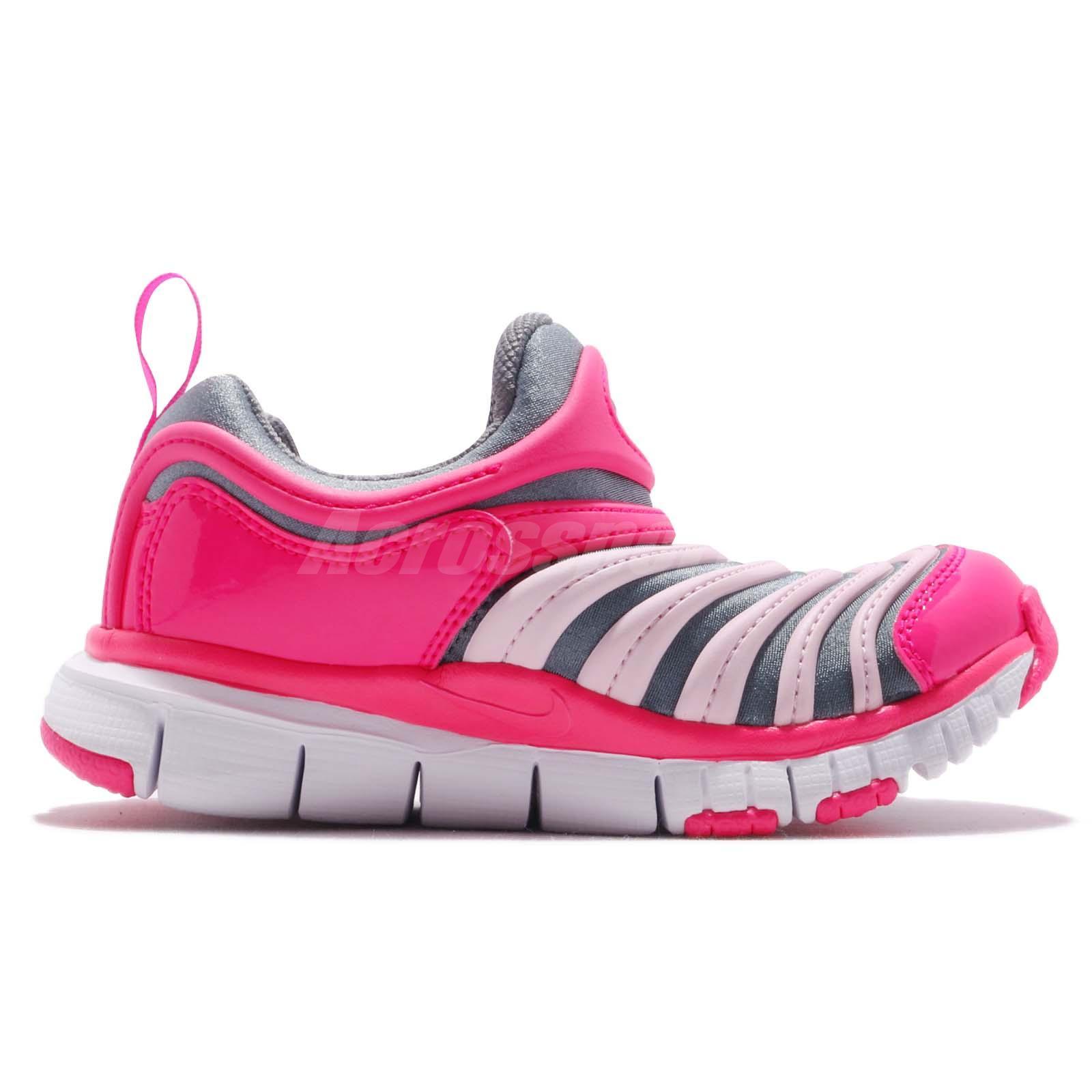 2a117206bf7fb Nike Dynamo Free PS Grey Pink White Kid Preschool Slip On Shoes ...