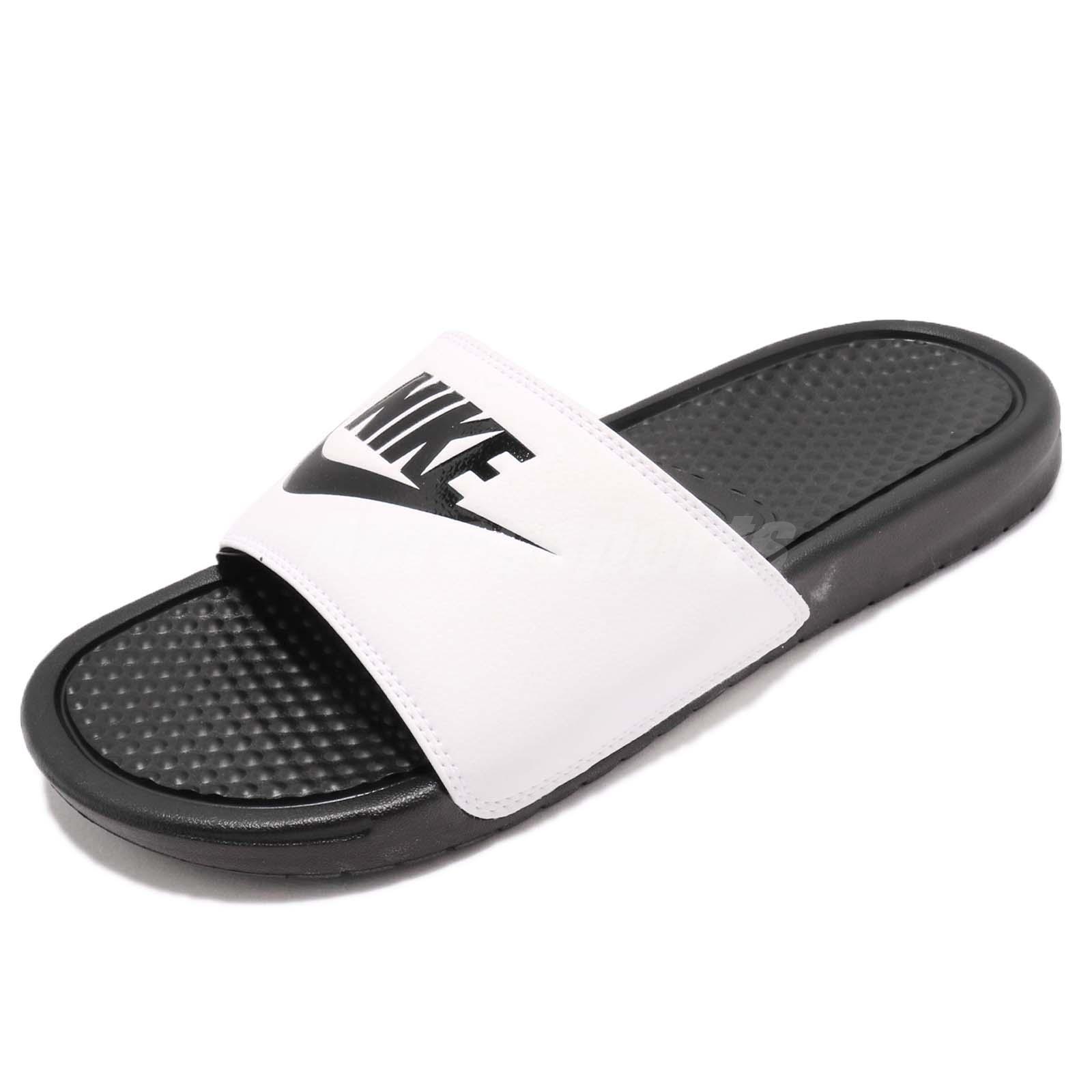 63c7242b4453 Details about Nike Benassi JDI LOGO White Black Men Sports Sandal Slides  Slippers 343880-100