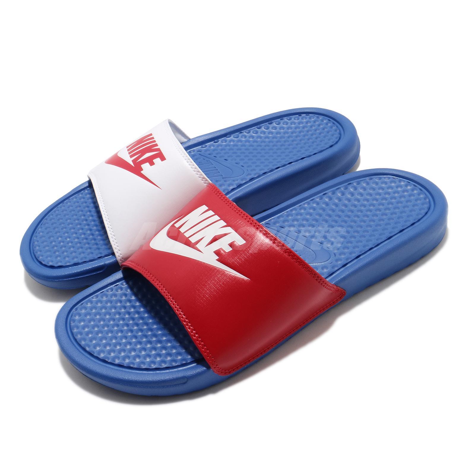 algun lado herramienta estoy enfermo  Nike Benassi JDI Game Royal Blue Red White Men Sandals Slides Slipper  343880-415 | eBay