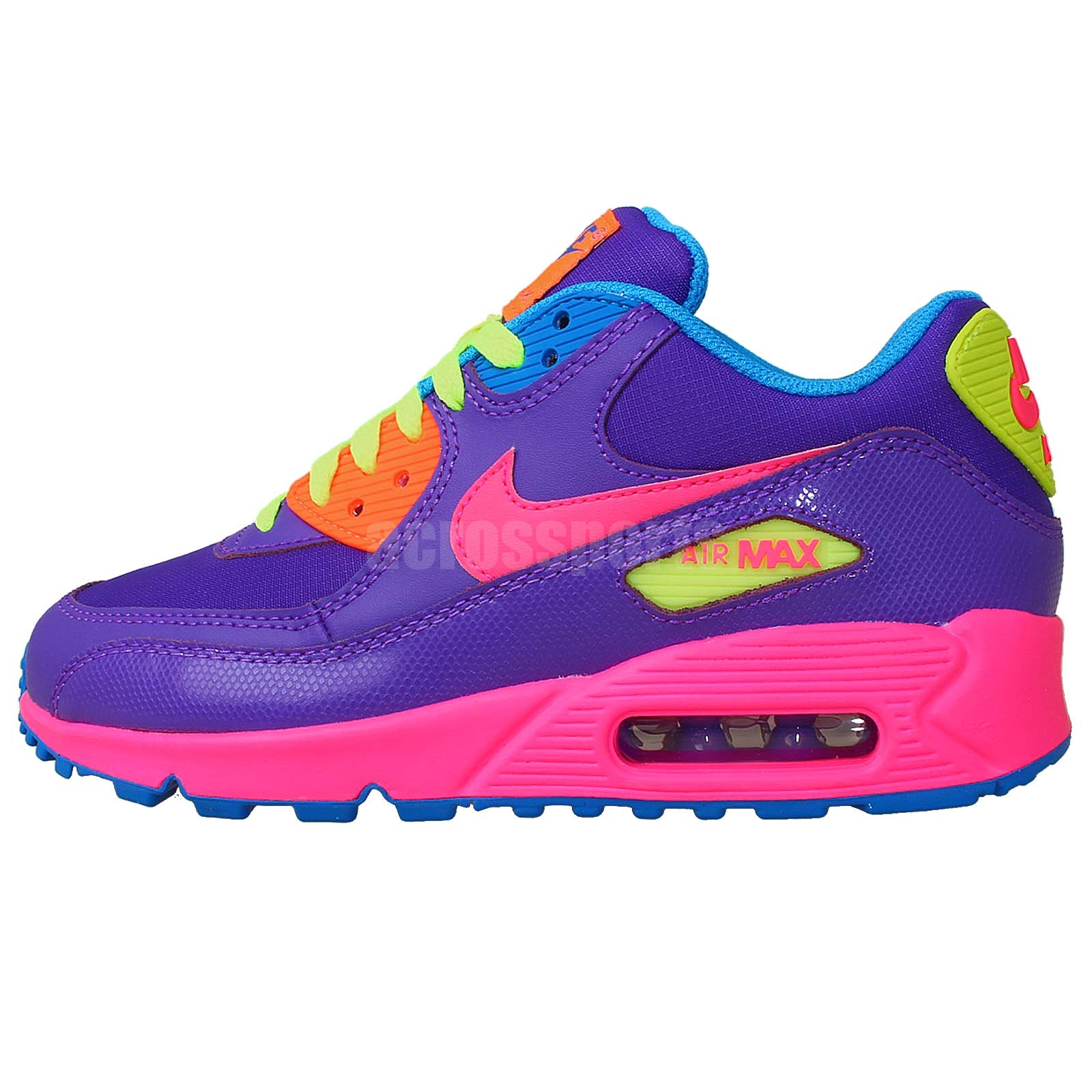 nike air max 90 2007 gs purple pink volt girls youth 2014. Black Bedroom Furniture Sets. Home Design Ideas