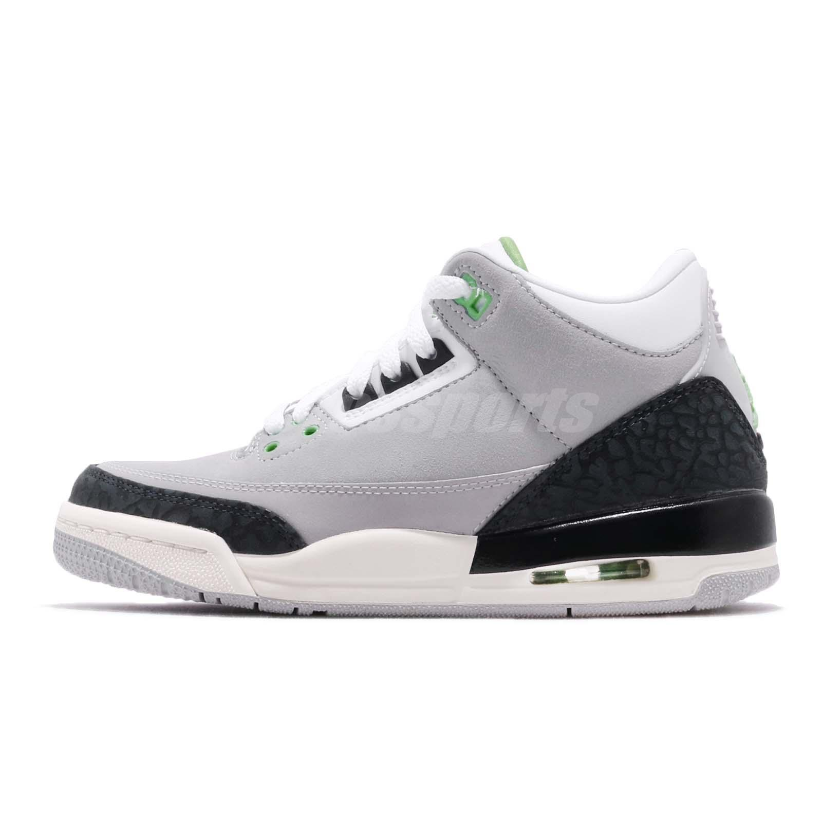 more photos df704 c2fc8 Nike Air Jordan 3 Retro BG Chlorophyll Tinker Green Kid Women Shoes  398614-006