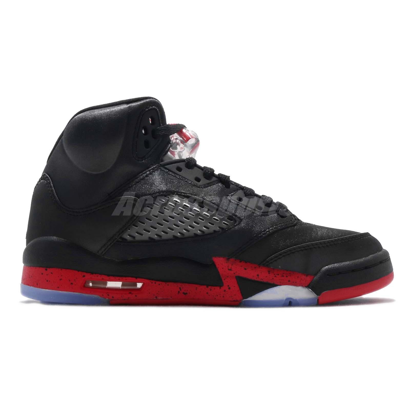 Nike Air Jordan 5 Retro BG GS Satin Black Red Bred V AJ5 Youth Kids ... aa728994f
