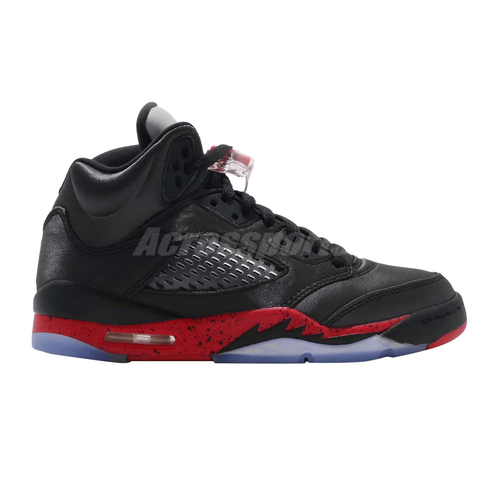 Athletic Shoes Latest Collection Of Nike Air Jordan 5 Retro Bg Gs Satin Black Red Bred V Aj5 Youth Kids 440888-006