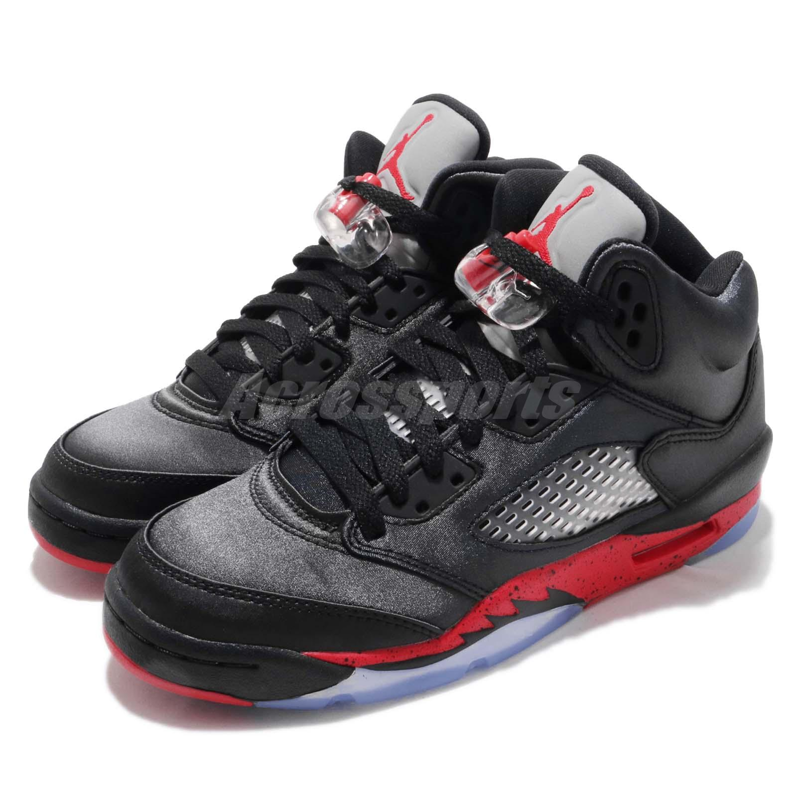 2ea3fc30ba51 Details about Nike Air Jordan 5 Retro BG GS Satin Black Red Bred V AJ5  Youth Kids 440888-006