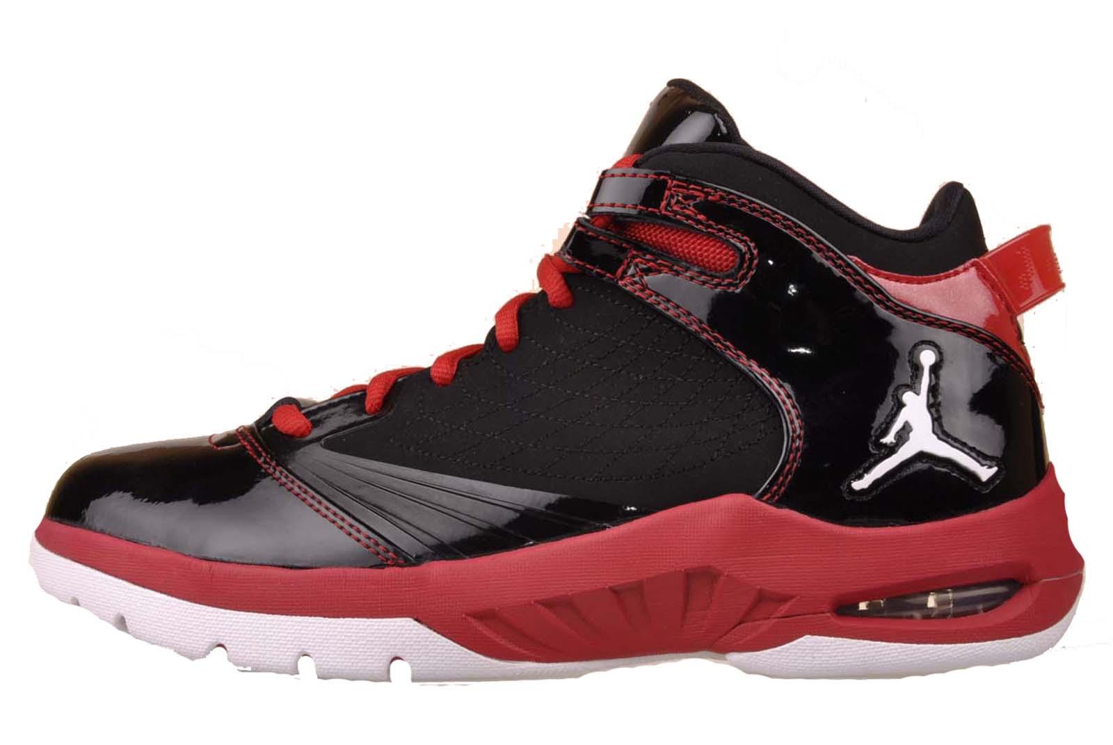 Nike Jordan New School Mens Basketball Shoes Black White Varsity Red 469955 001
