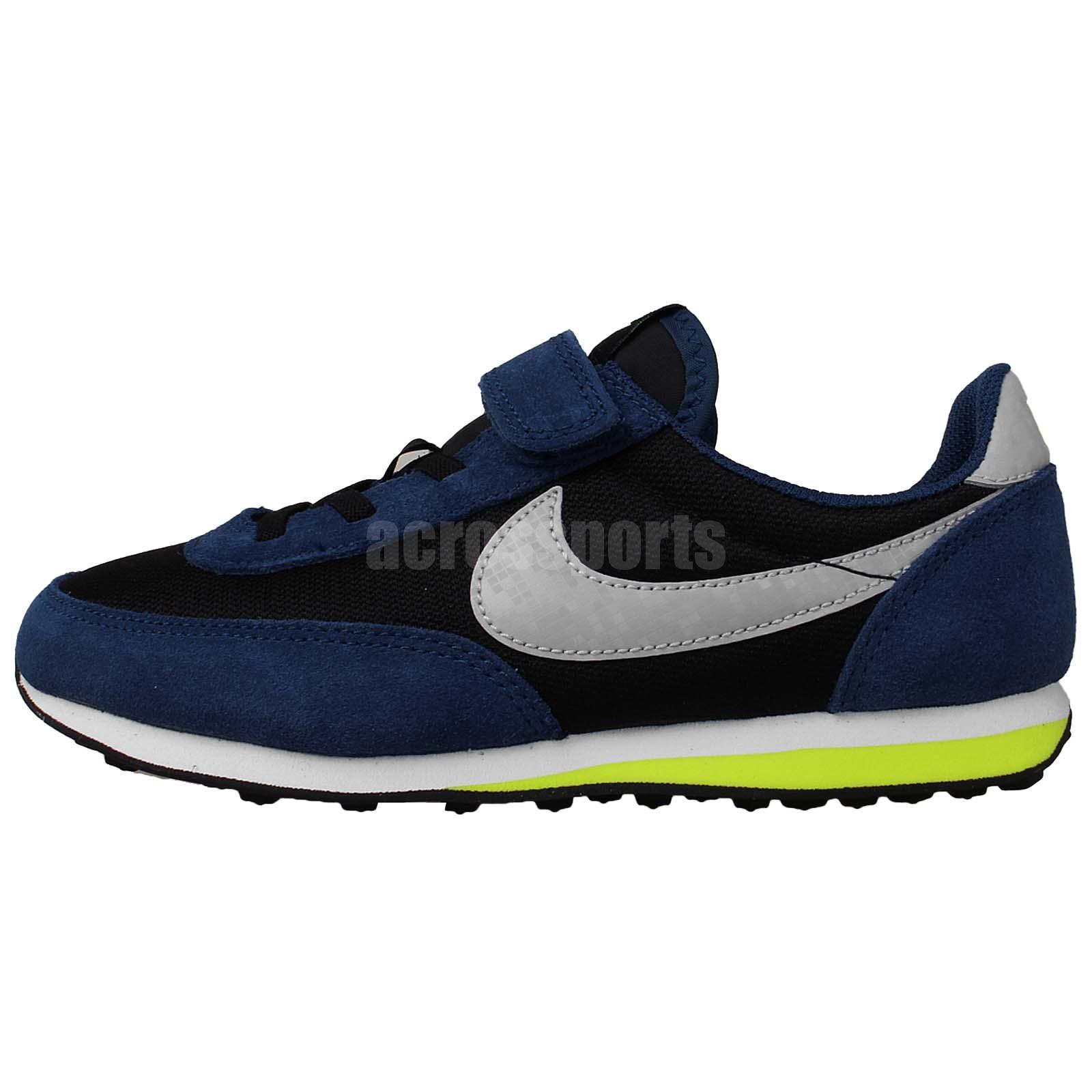 Nike Elite PS Black Blue Volt Prescool Velcro Boys Running ...