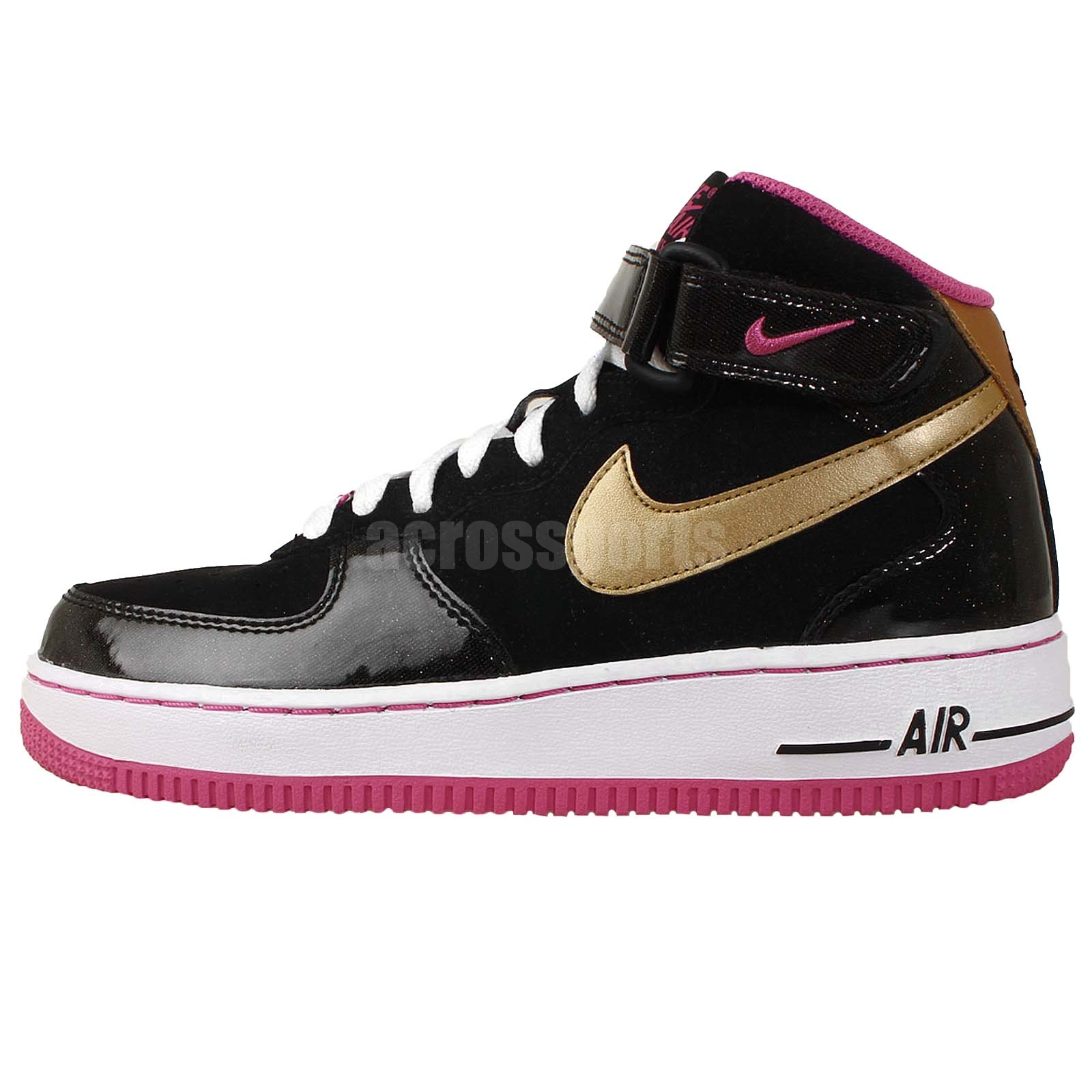 nike air force 1 mid gs piano black gold pink youth girls. Black Bedroom Furniture Sets. Home Design Ideas