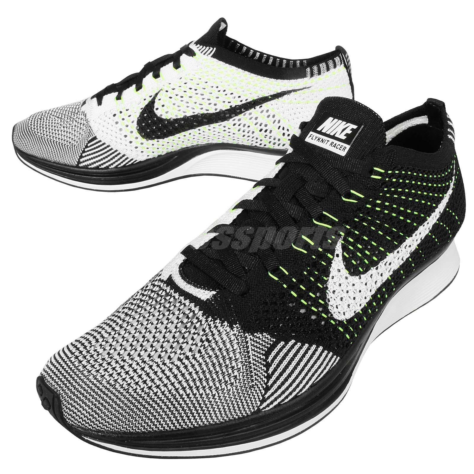 Nike Flyknit Racer Black White Volt Mens Running Shoes ...