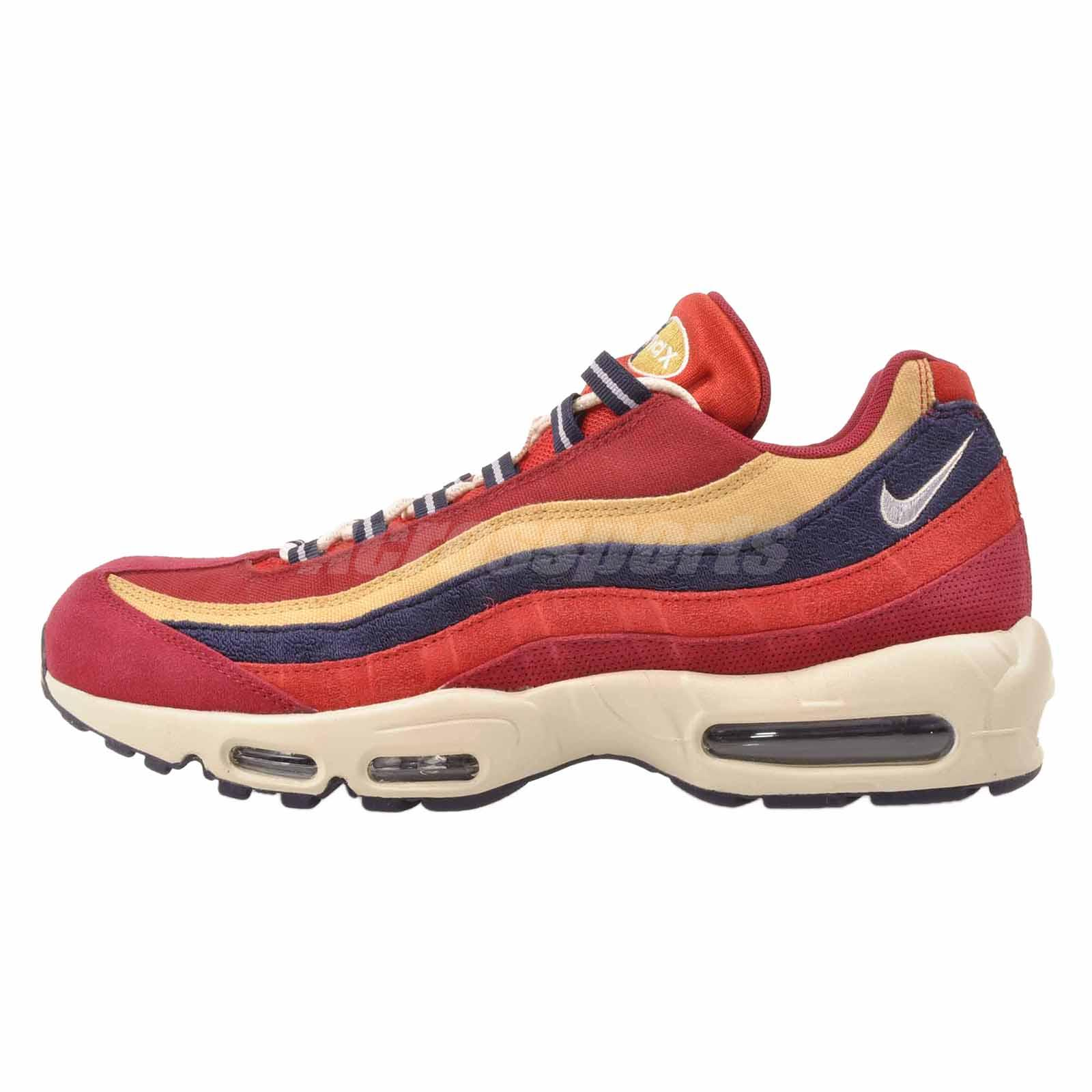 a0d491bc93f7 Details about Nike Air Max 95 PRM Running Mens Premium Shoes NWOB Red  538416-603