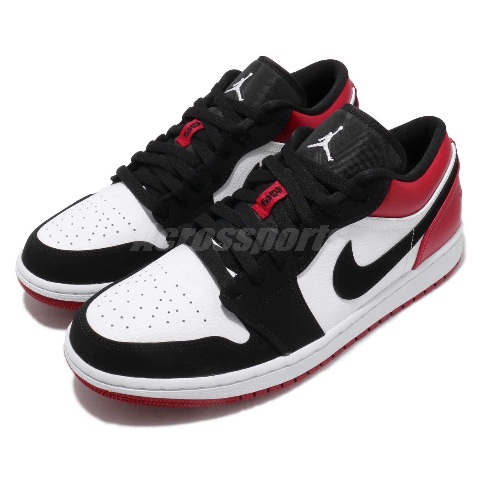 new arrival a33a2 bfca9 Details about Nike Air Jordan 1 Low Black Toe White Black Gym Red AJ1  Sneakers Shoe 553558-116
