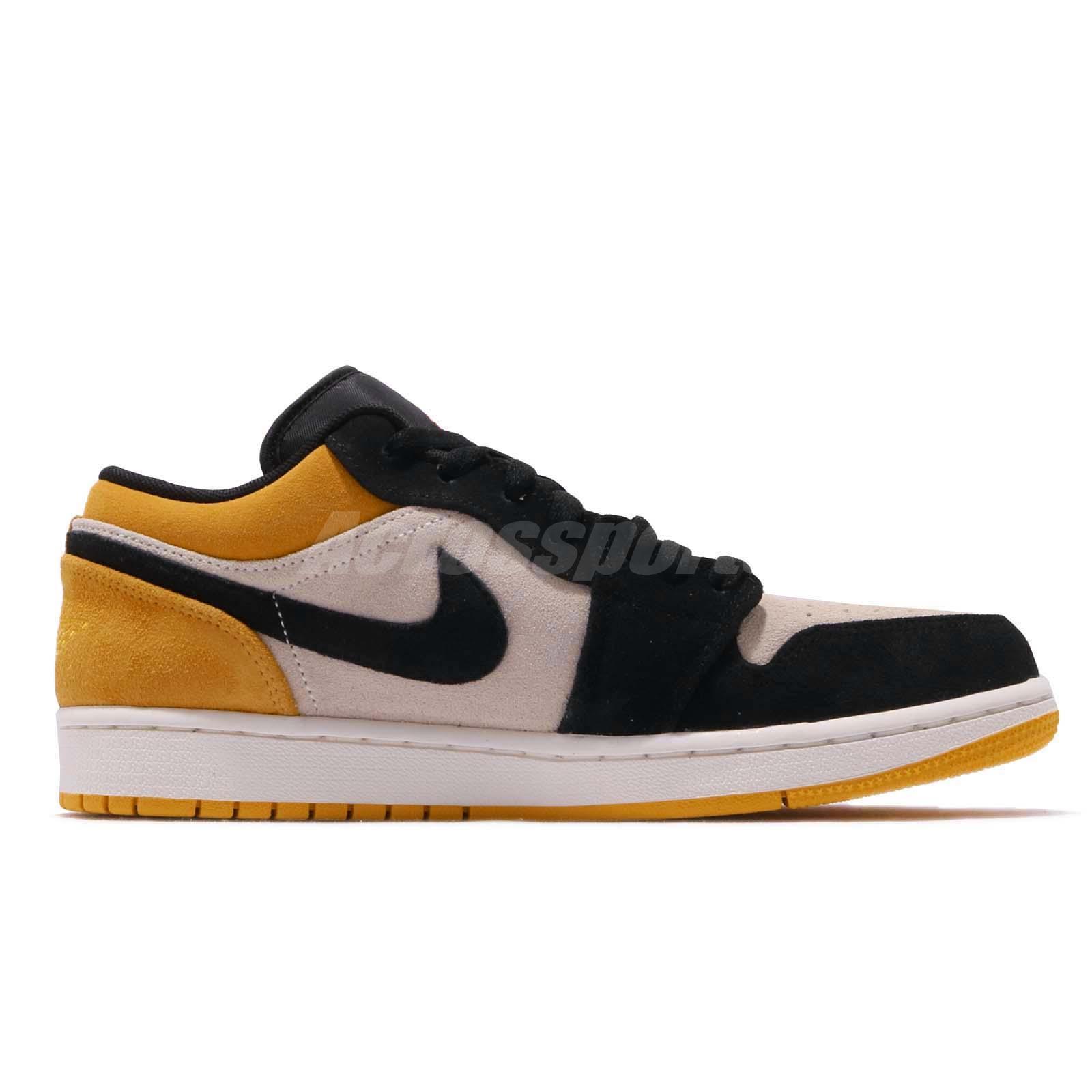 61a3cb4a016c3a Nike Air Jordan 1 Low I AJ1 Sail University Gold Black Men Shoes ...