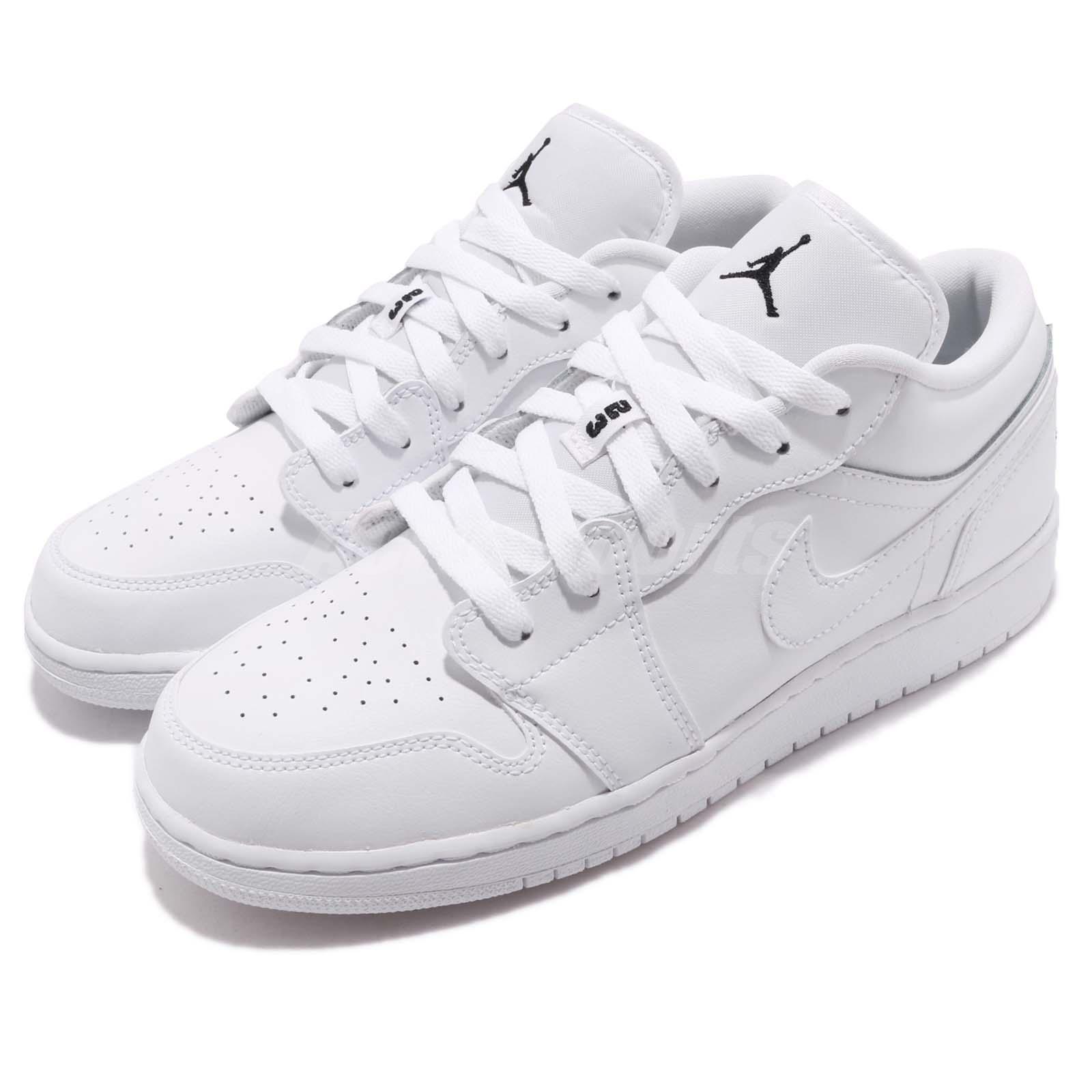 reputable site 3a4ee 1ced1 Подробные сведения о Nike Air Jordan 1 Low Gs I AJ1 белый черный парень  женские баскетбольные кроссовки 553560-101- показать заголовок оригинала
