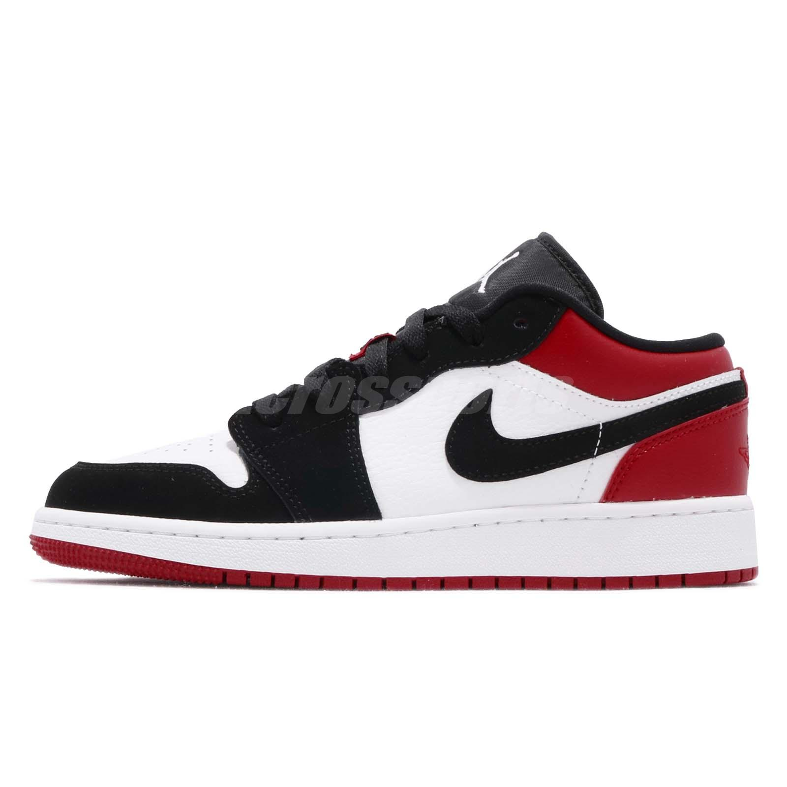 the best attitude 2dcbc 63a87 Nike Air Jordan 1 Low GS I AJ1 Black Toe Kid Youth Women Shoe Sneaker 553560 -116