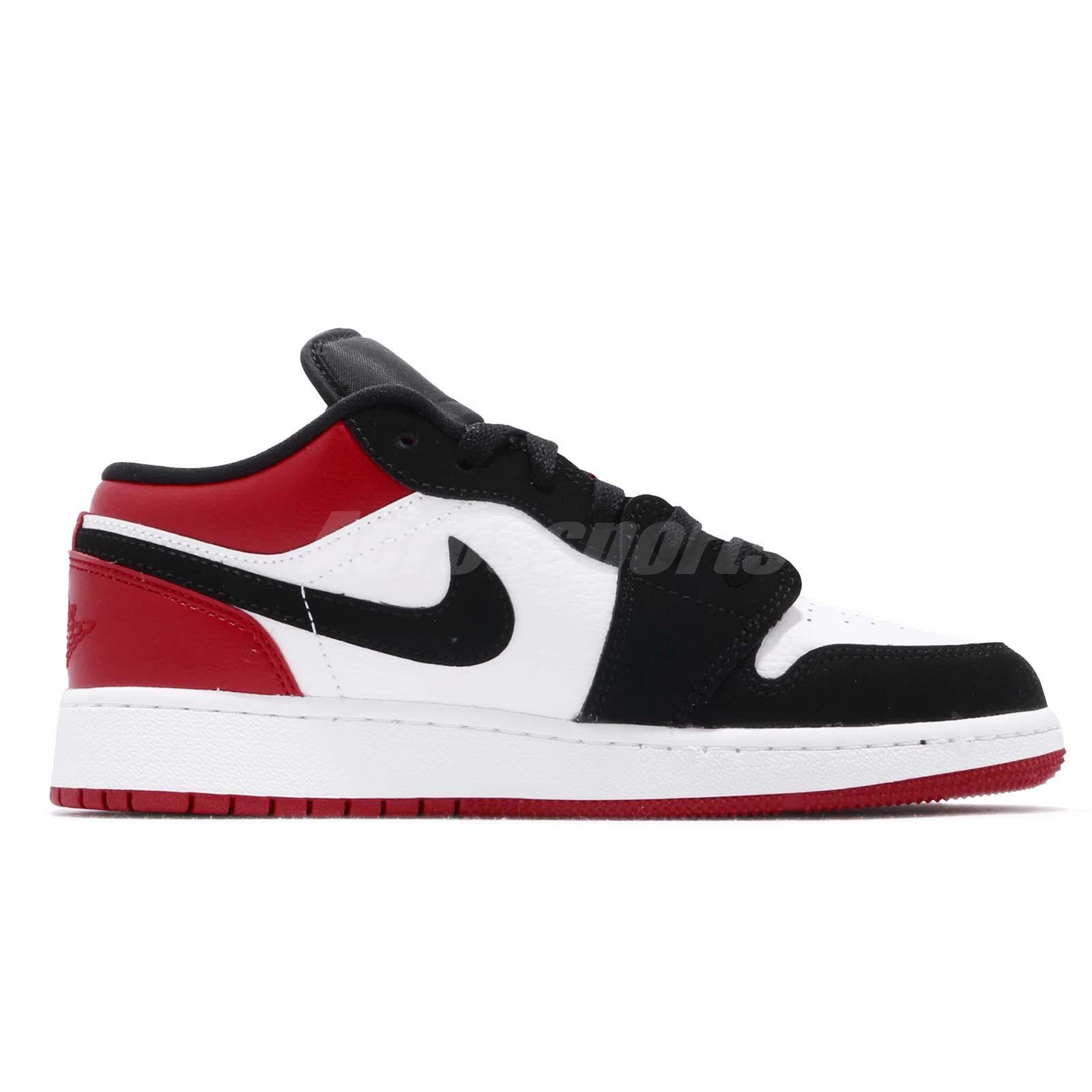 finest selection 29968 5be7c Details about Nike Air Jordan 1 Low GS I AJ1 Black Toe Kid Youth Women Shoe  Sneaker 553560-116