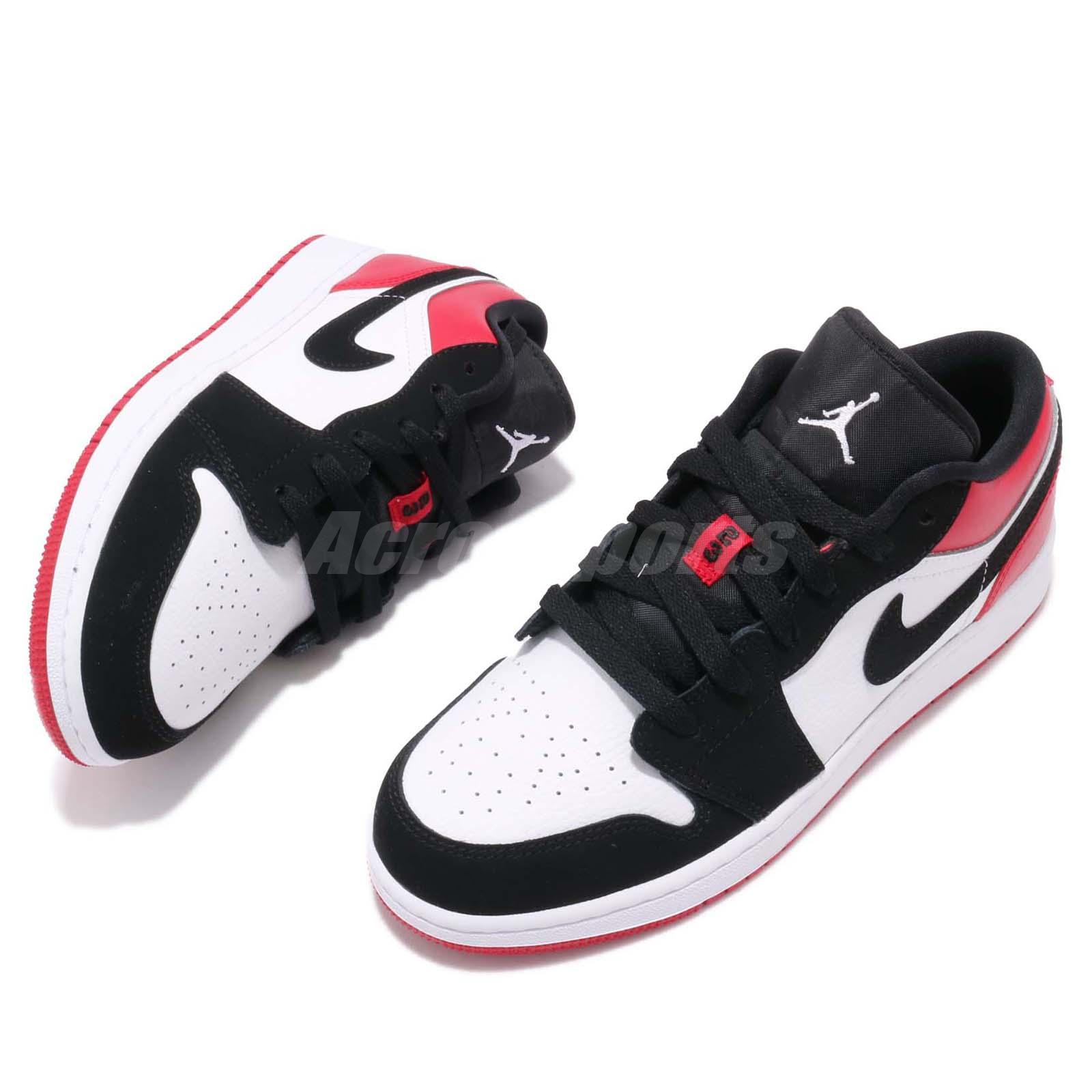 timeless design 2bced 1af7e Nike Air Jordan 1 Low GS I AJ1 Black Toe Kid Youth Women Shoe ...