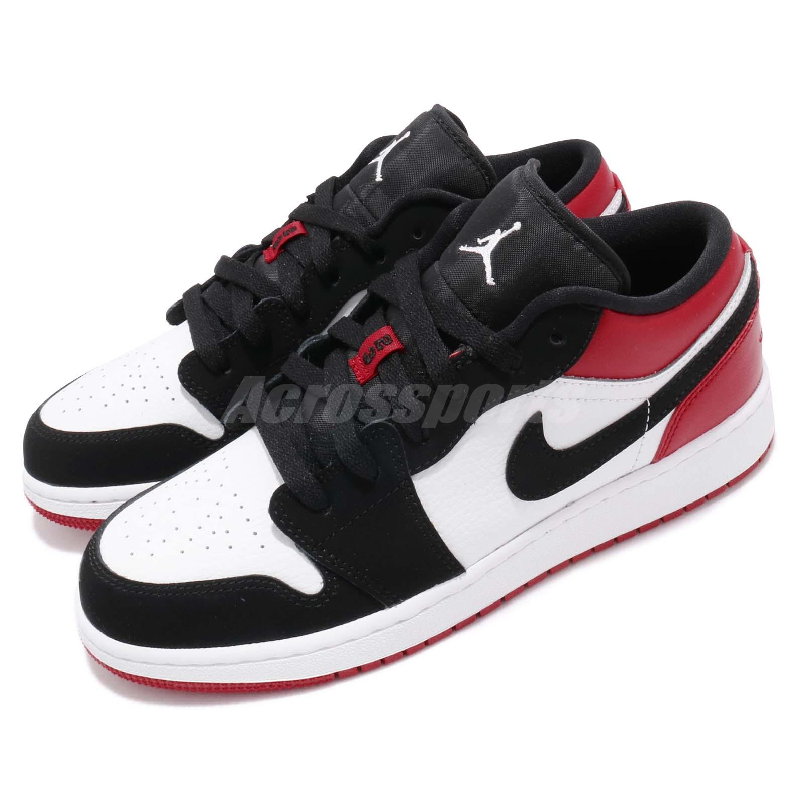 finest selection 801d4 20f72 Details about Nike Air Jordan 1 Low GS I AJ1 Black Toe Kid Youth Women Shoe  Sneaker 553560-116