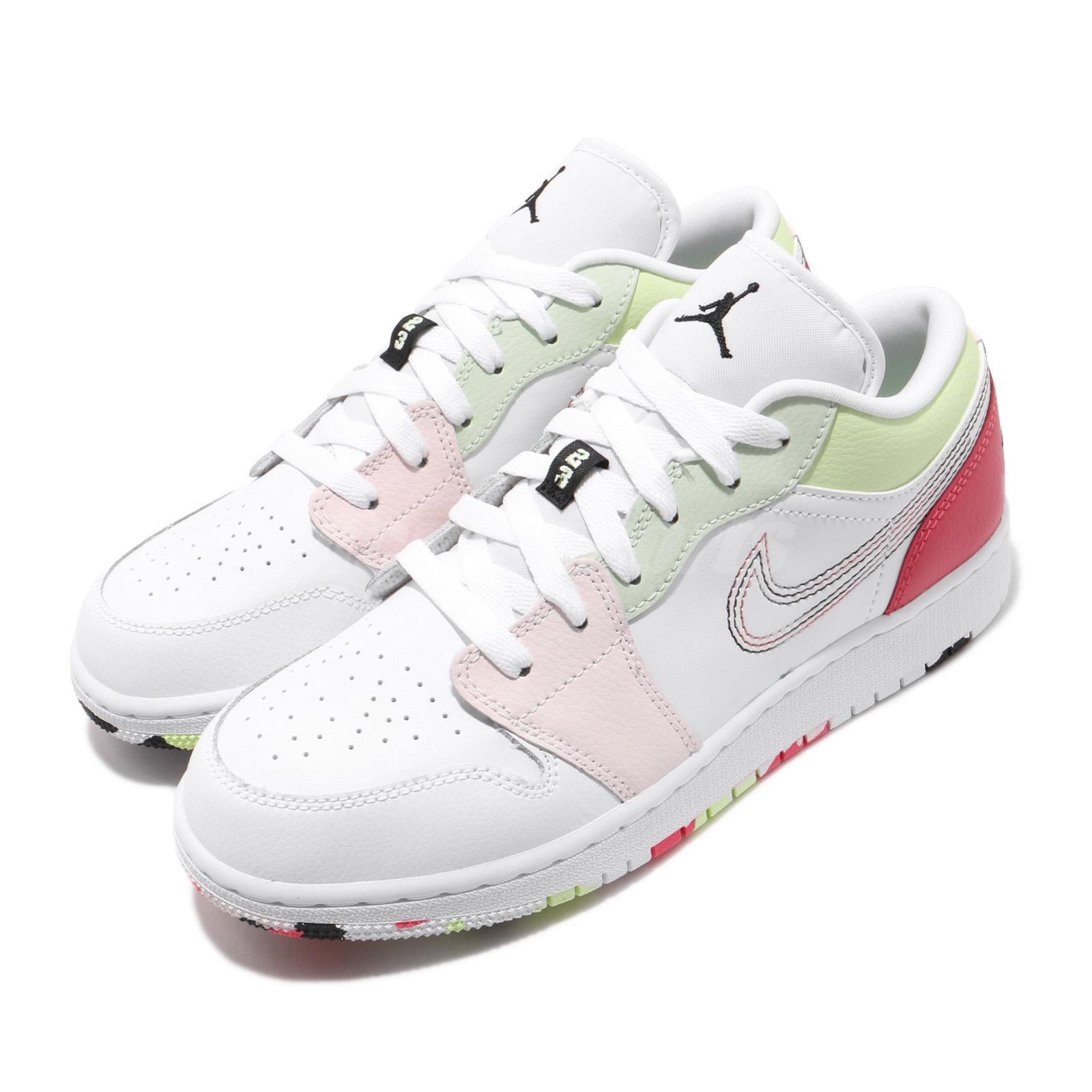 best website 51618 1cec4 Details about Nike Air Jordan 1 Low GS AJ1 I Candy Camo White Pink Kid  Women Shoes 554723-176