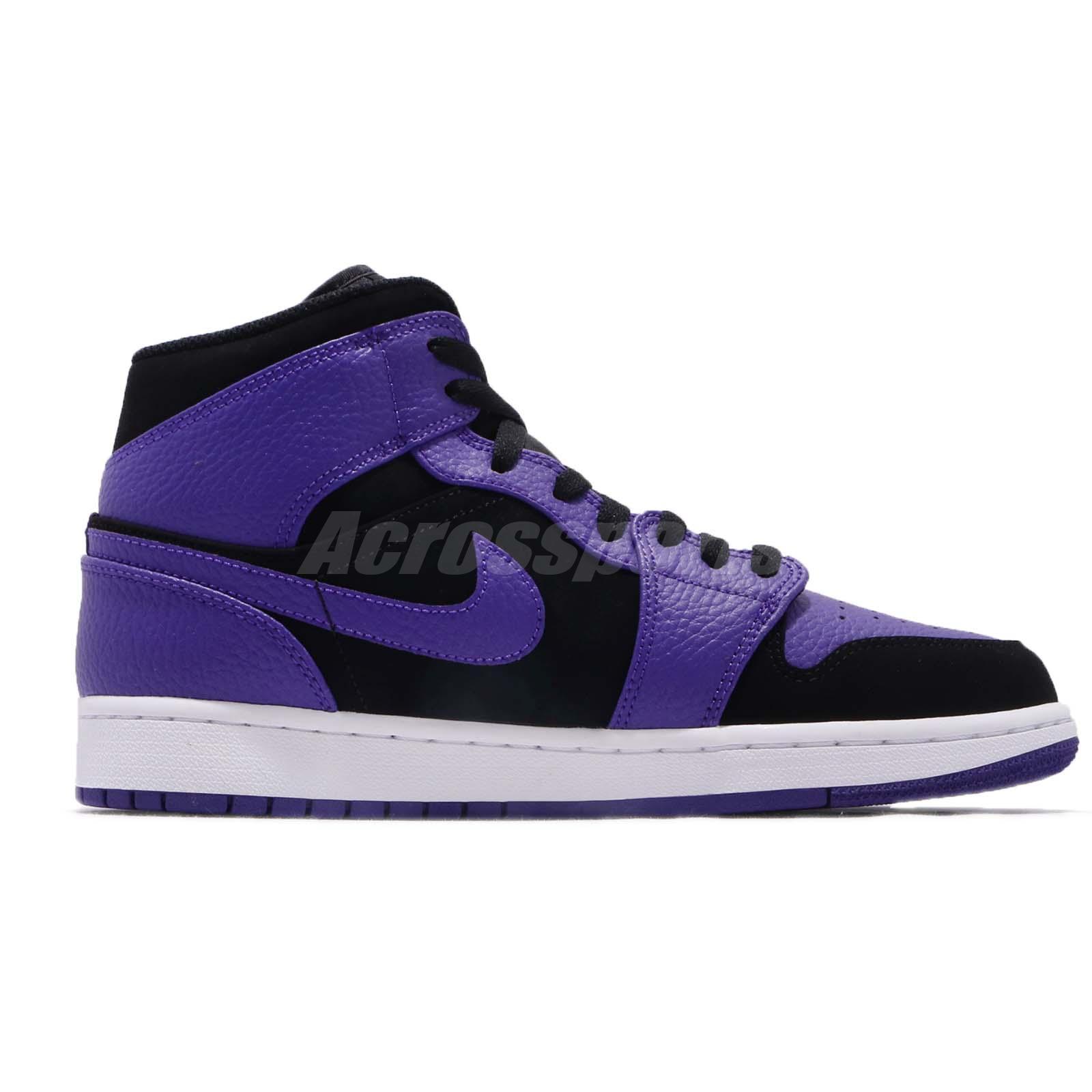 59f5d855c5c Details about Nike Air Jordan 1 Mid Black Concord Purple Mens Shoes  Sneakers AJ1 554724-051