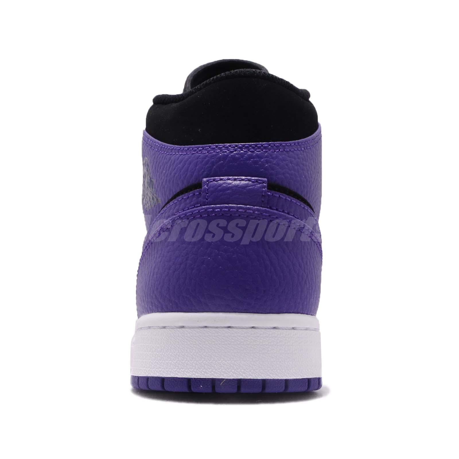 54b3c2811e3b96 Nike Air Jordan 1 Mid Black Concord Purple Mens Shoes Sneakers AJ1 ...