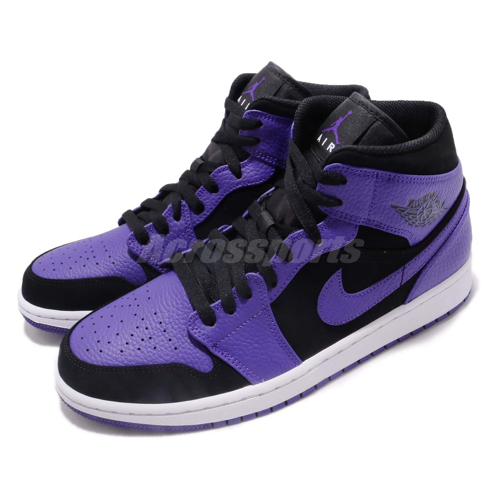 89295cb9871 Details about Nike Air Jordan 1 Mid Black Concord Purple Mens Shoes  Sneakers AJ1 554724-051