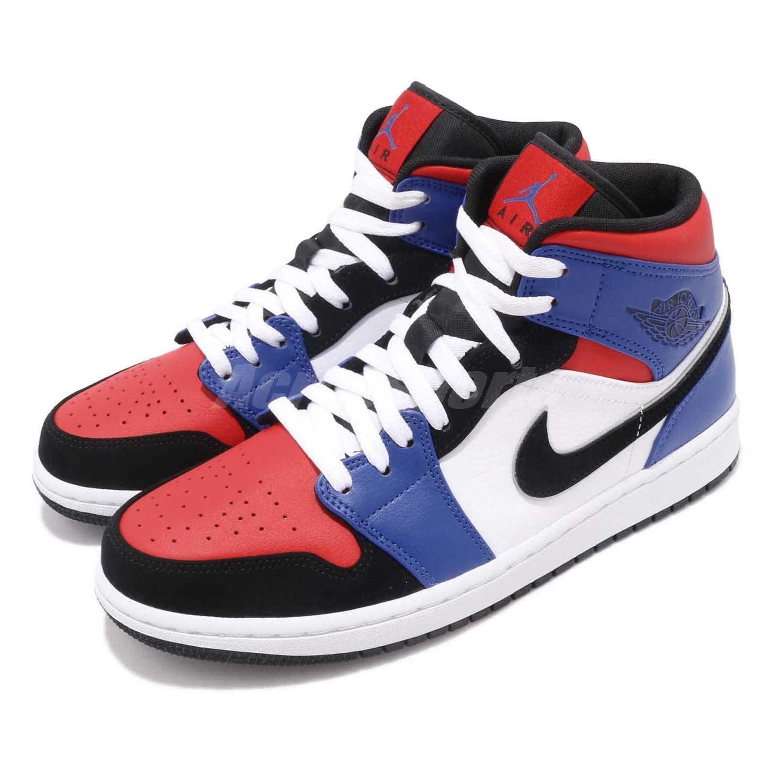 pretty nice b2190 d36cb Details about Nike Air Jordan 1 Mid Top 3 White Black Blue Red AJ1 I  Sneakers Shoes 554724-124
