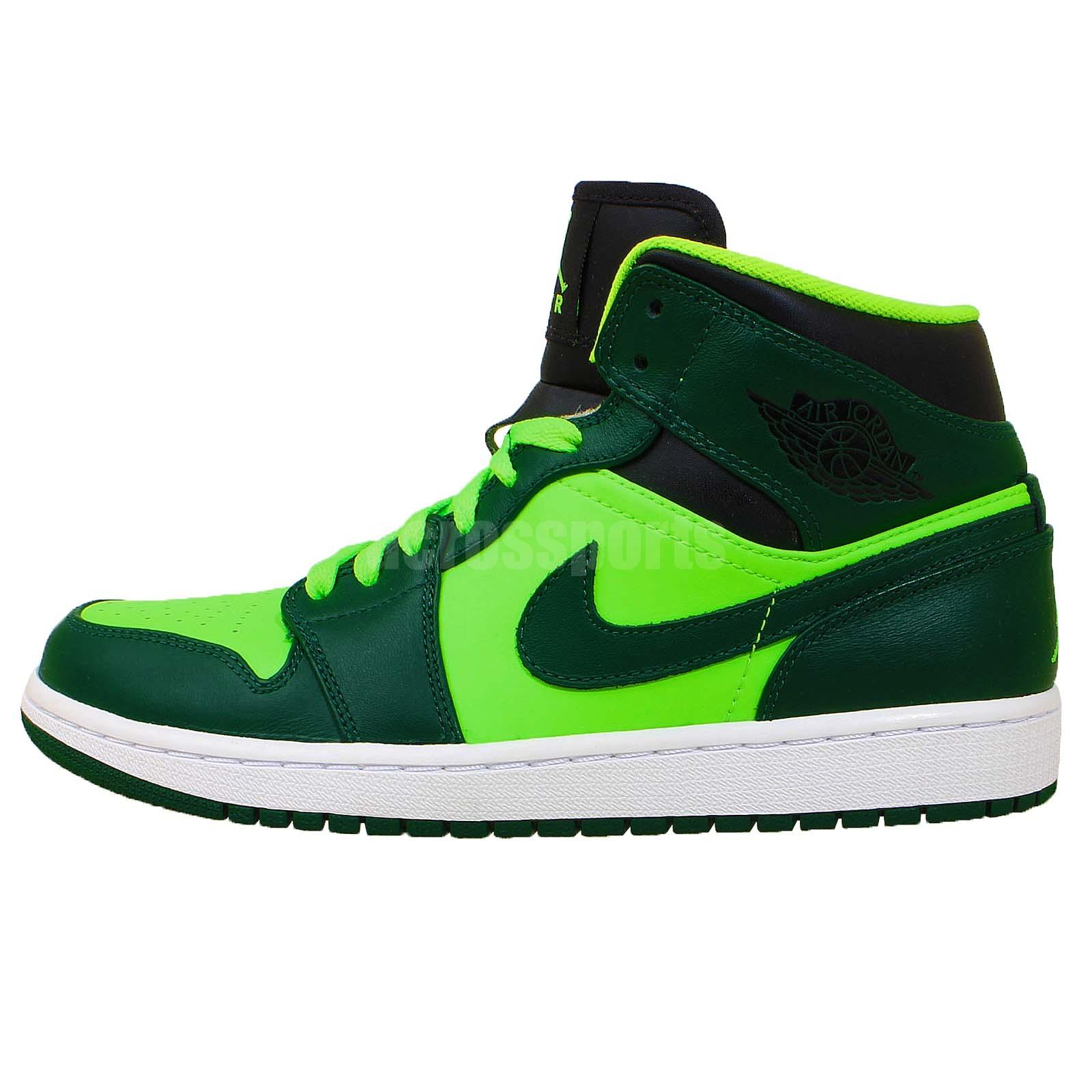 nike air jordan 1 mid aj1 green mens basketball shoes. Black Bedroom Furniture Sets. Home Design Ideas