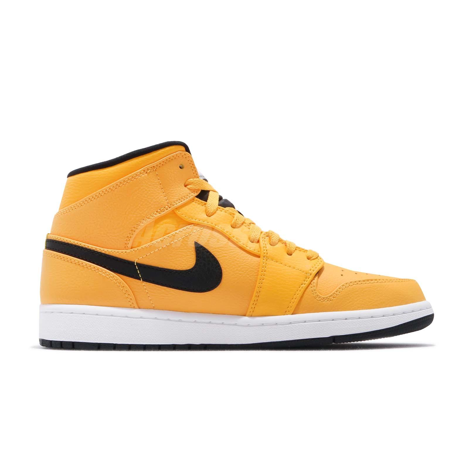 5ccbf8f049782d Nike Air Jordan 1 MID Taxi University Gold Yellow Black AJ1 Sneakers ...