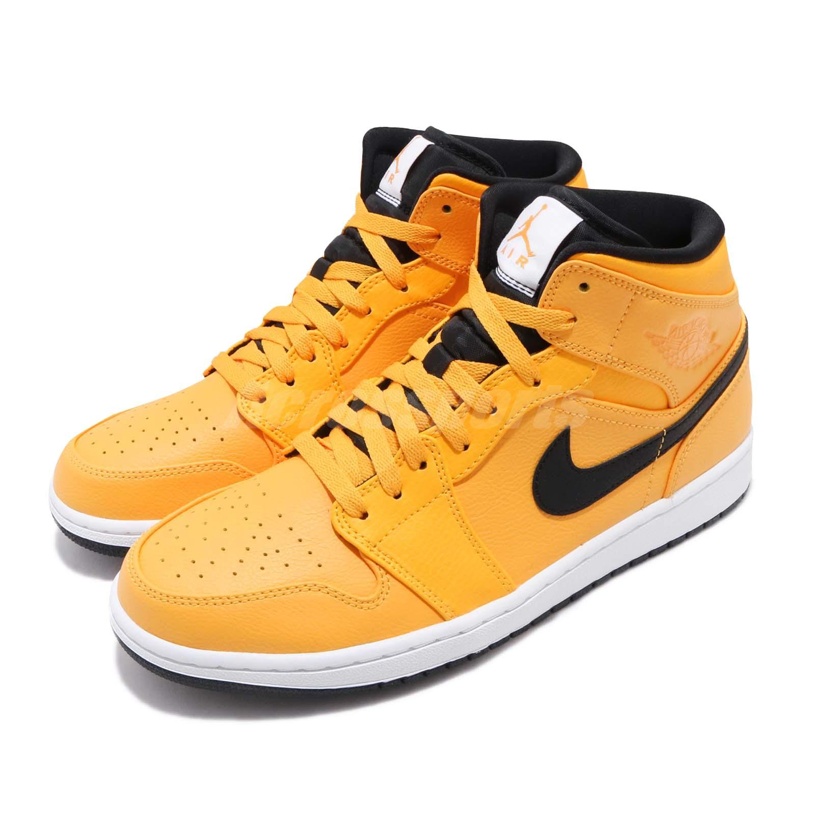 d328cac6de00af Details about Nike Air Jordan 1 MID Taxi University Gold Yellow Black AJ1  Sneakers 554724-700