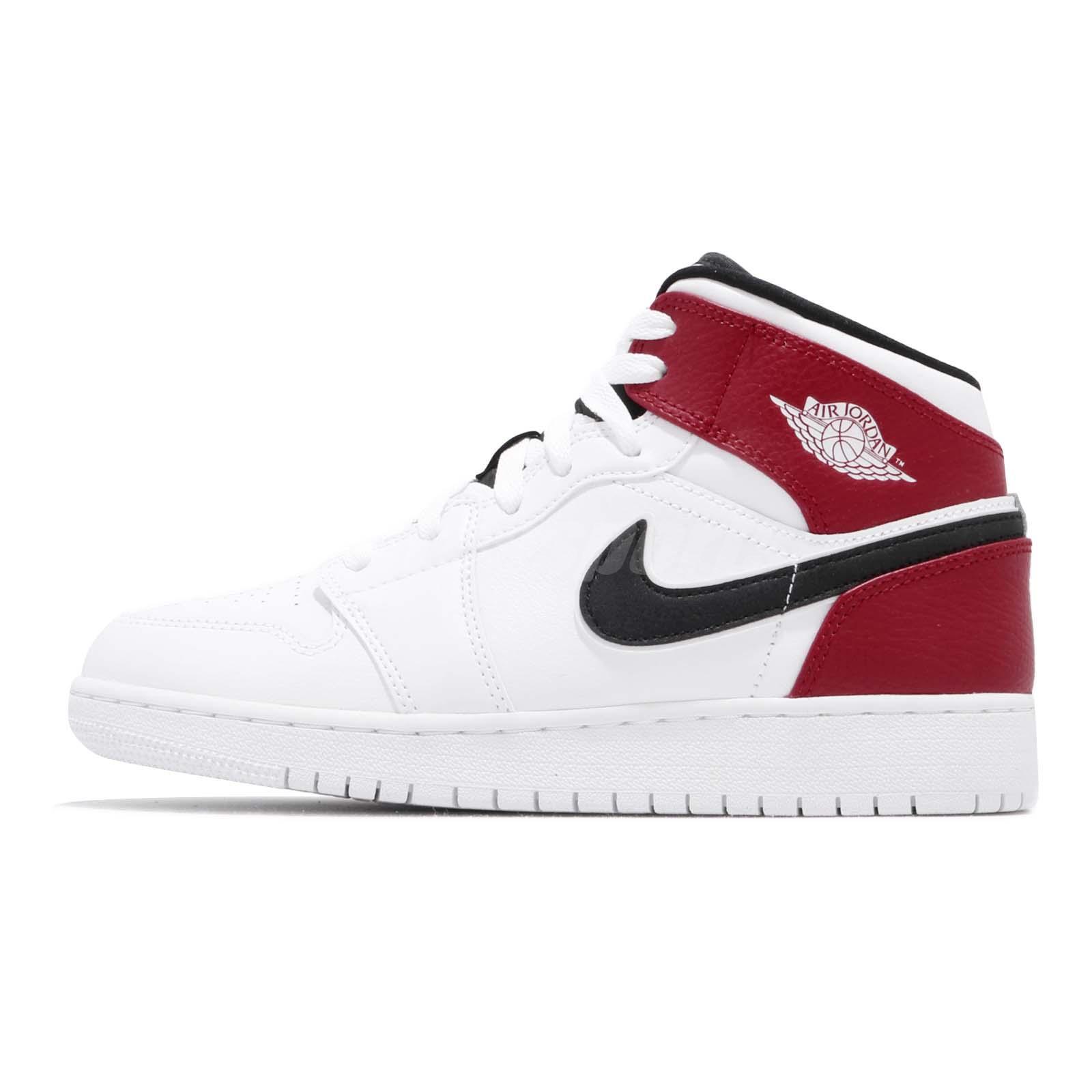 1b3c08aaed7eaf Nike Air Jordan 1 Mid GS White Black Gym Red Chicago Kids Womens AJ1 554725- 116