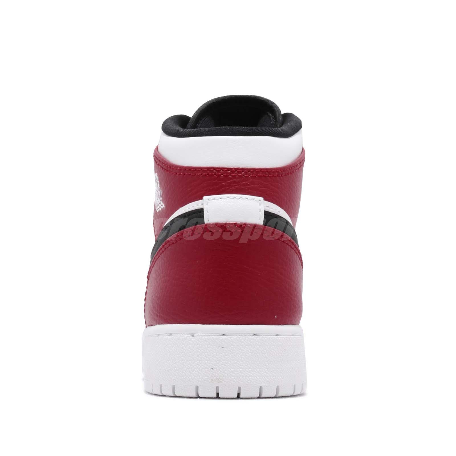 9a5d2825fb7314 Nike Air Jordan 1 Mid GS White Black Gym Red Chicago Kids Womens AJ1 ...