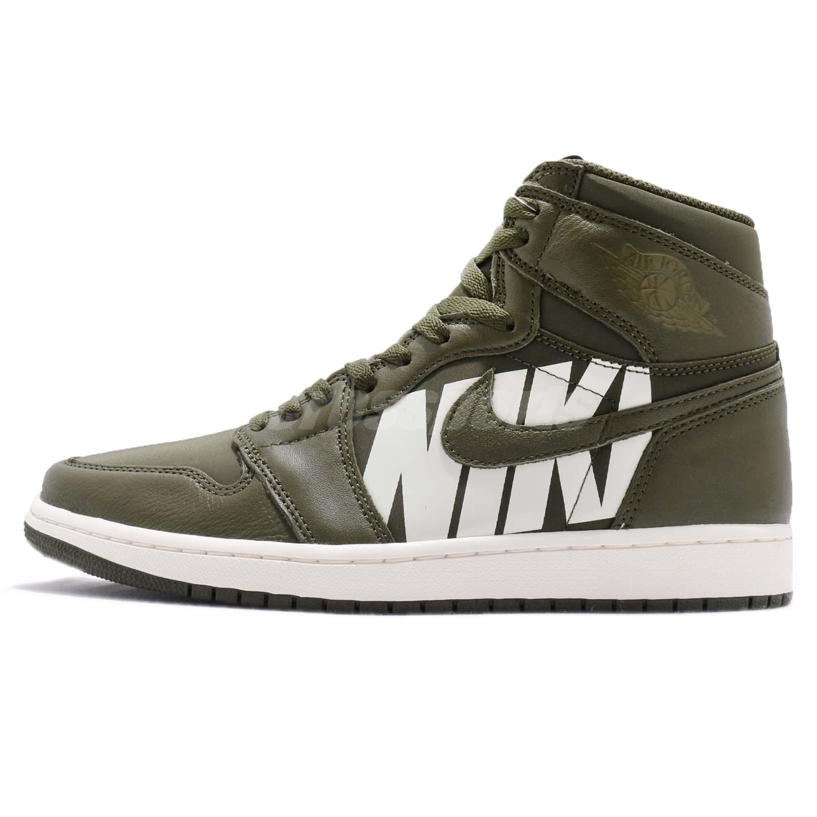 28c7992b2b5 Nike Air Jordan 1 Retro High OG Big Logos Olive Canvas Sail AJ1 Men  555088-300