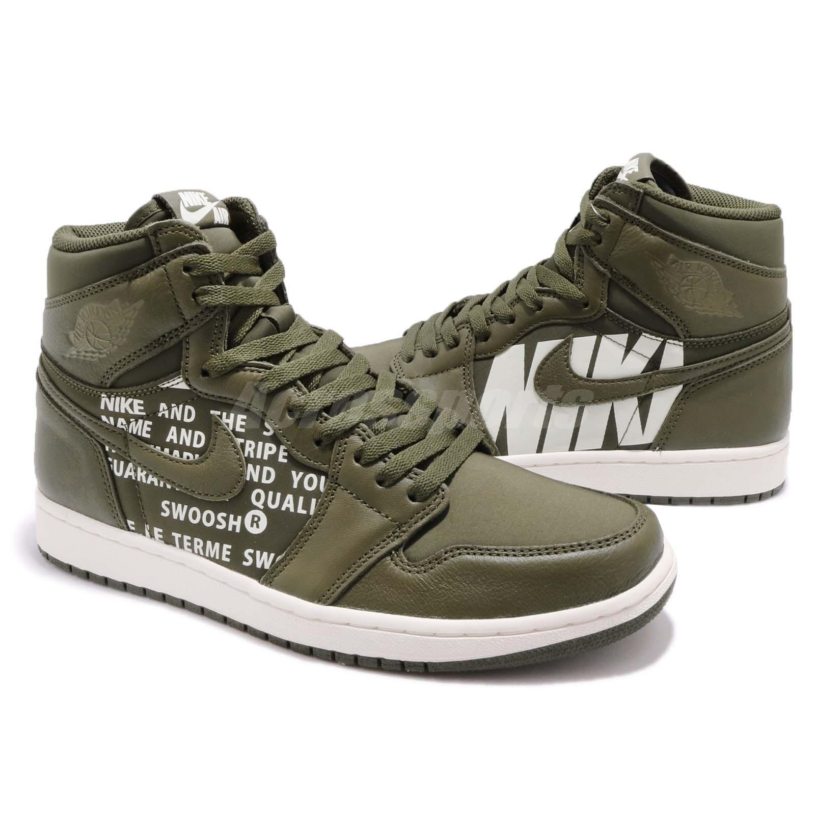differently 2ffcd d6f1d Nike Air Jordan 1 Retro High OG Big Logos Olive Canvas Sail AJ1 Men ...