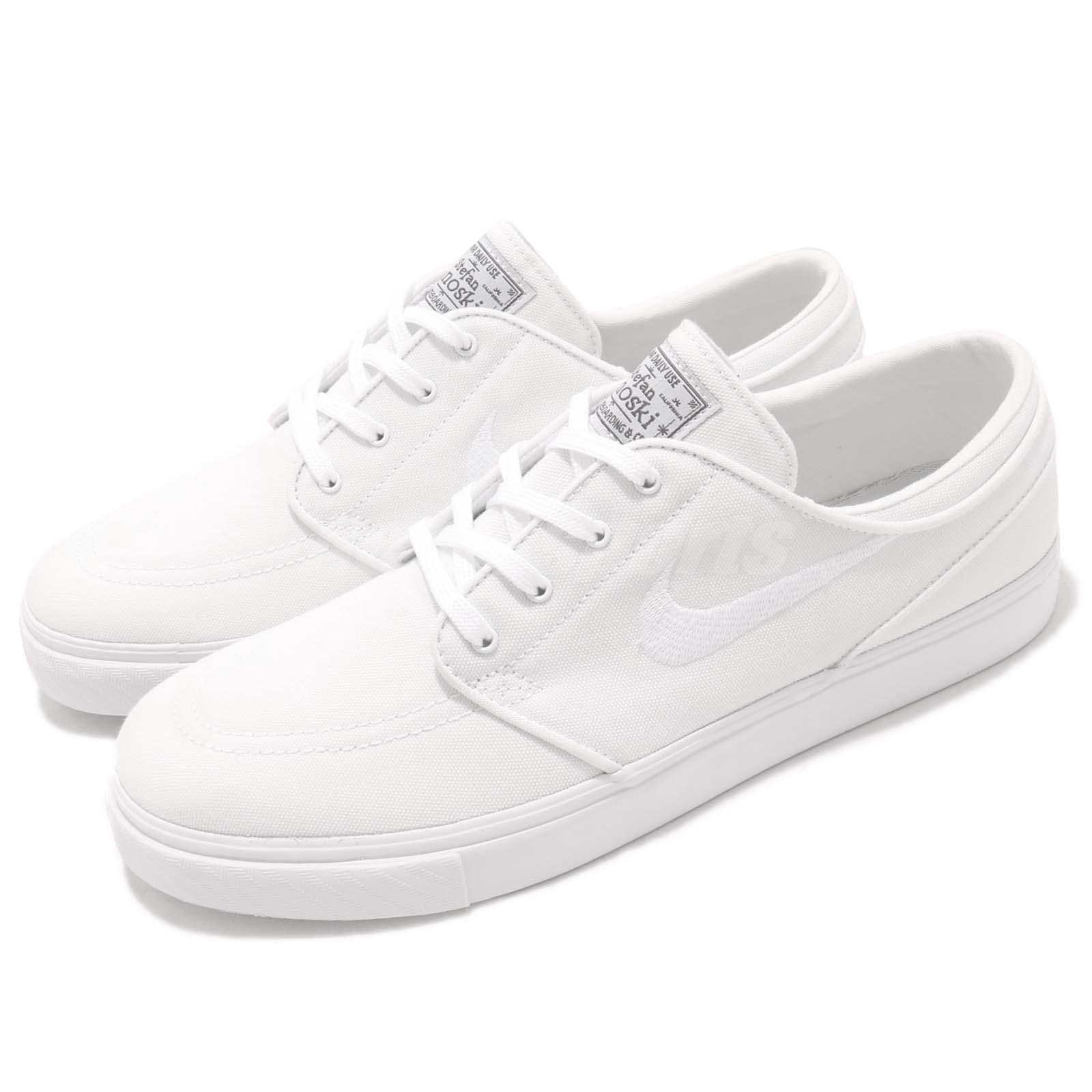 84e1c76780 Details about Nike SB Zoom Stefan Janoski CNVS Canvas White Grey Skateboarding  Shoe 615957-101