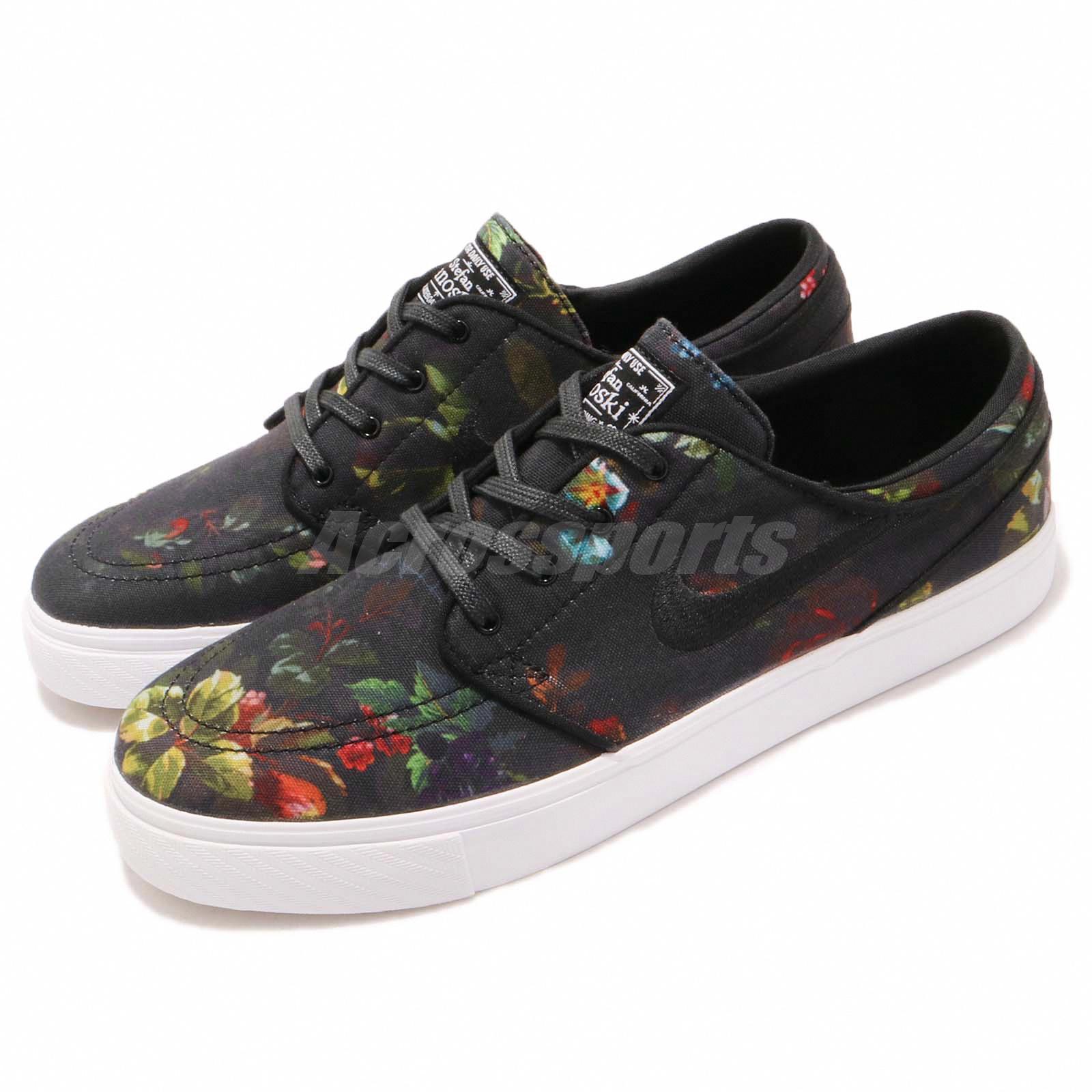 best service 42eca e3beb Details about Nike SB Zoom Stefan Janoski Canvas Black Floral Skateboarding  Shoes 615957-900
