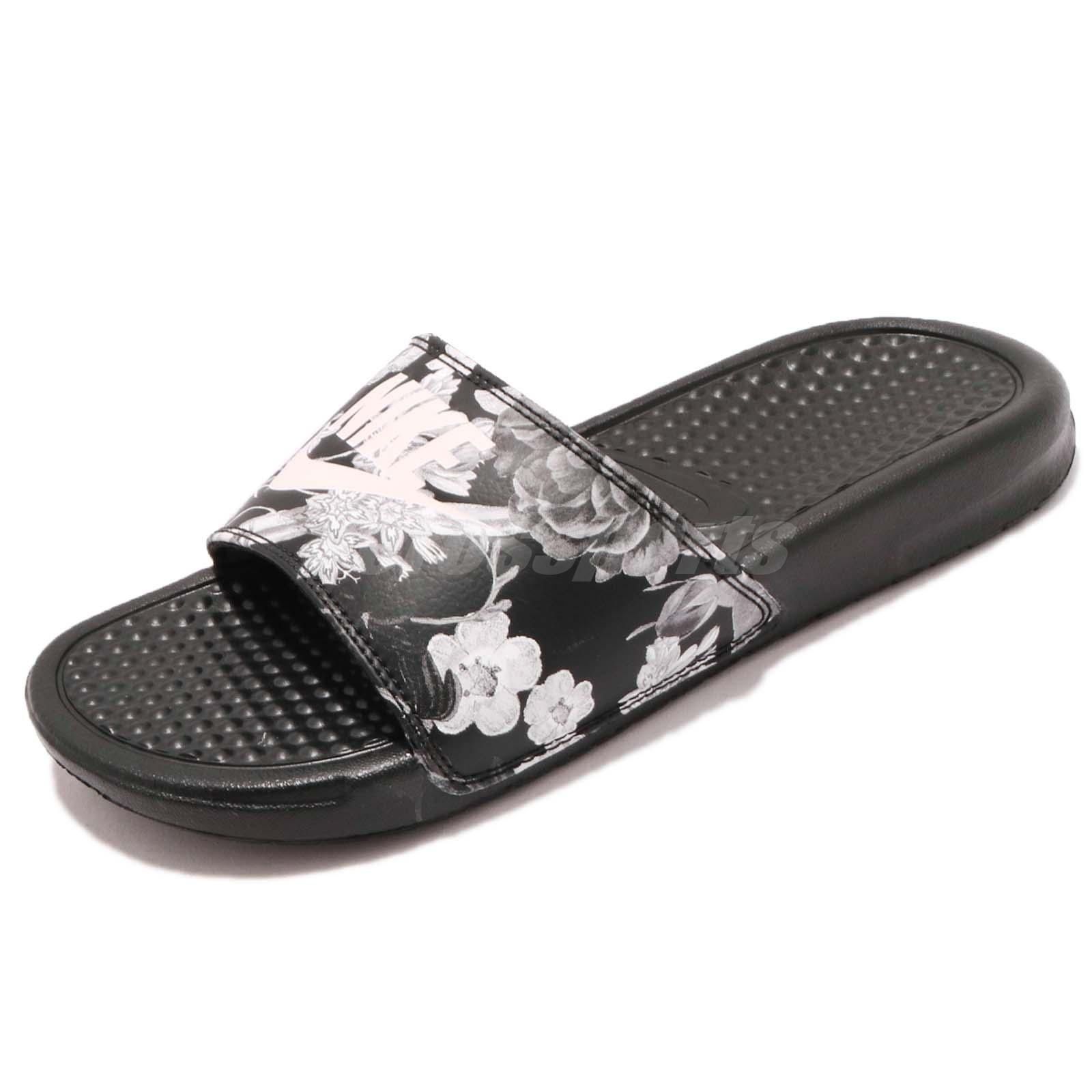 3302245b6 Nike Wmns Benassi JDI Print Floral Black White Women Sports Sandals  618919-020