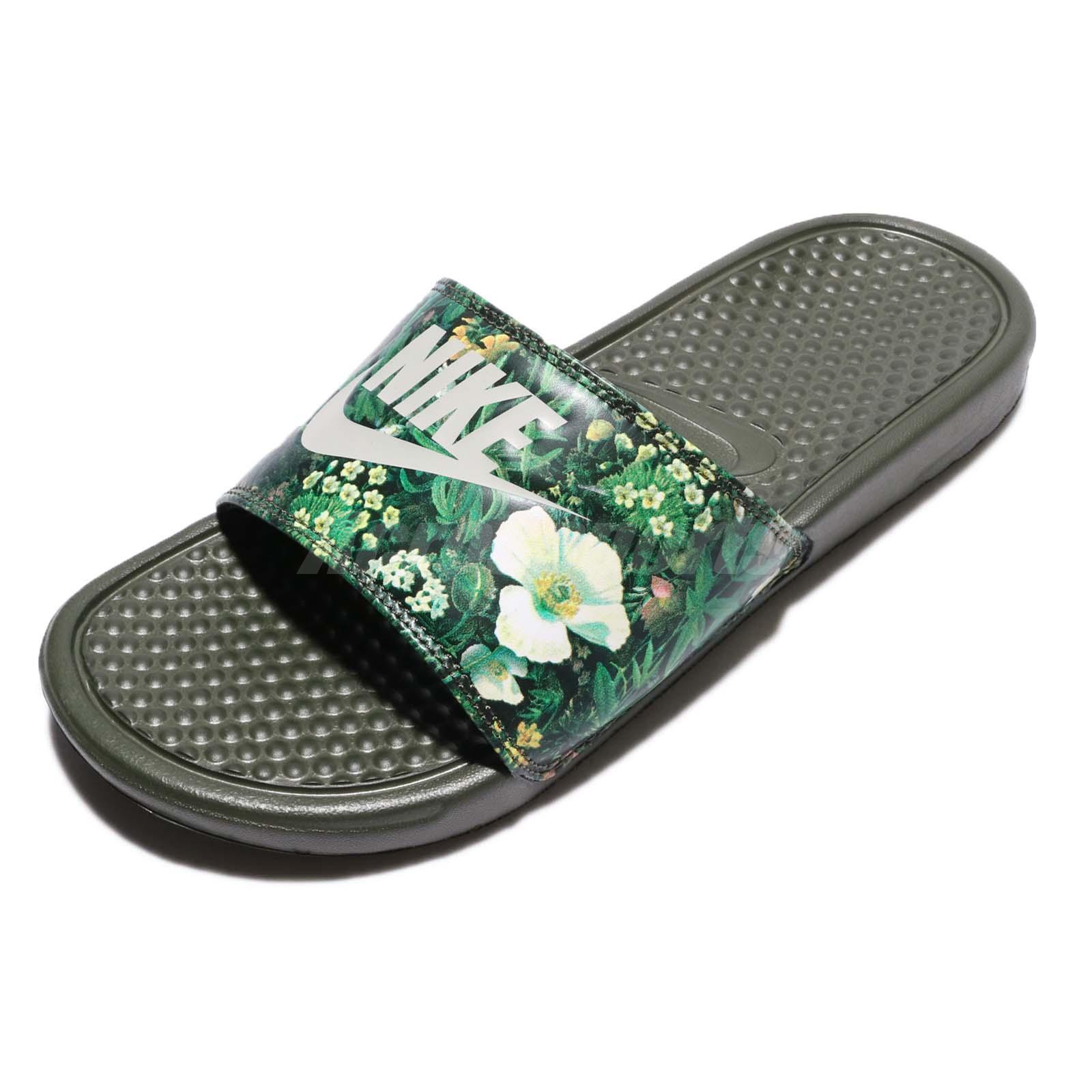 Nike Wmns Benassi JDI Print Floral Cargo Khaki Women Sandal Slide 618919-300 5030a214fff5