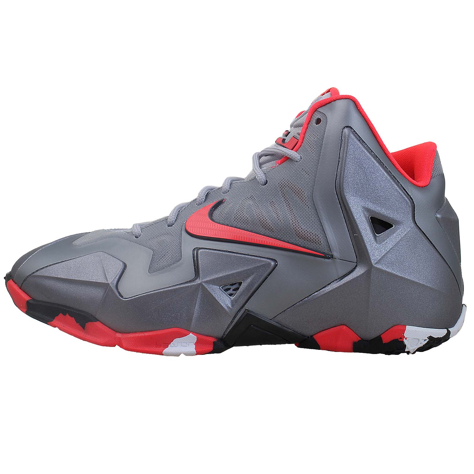 Nike Lebron XI GS 11 King James Grey Red 2014 Girls Boys ...
