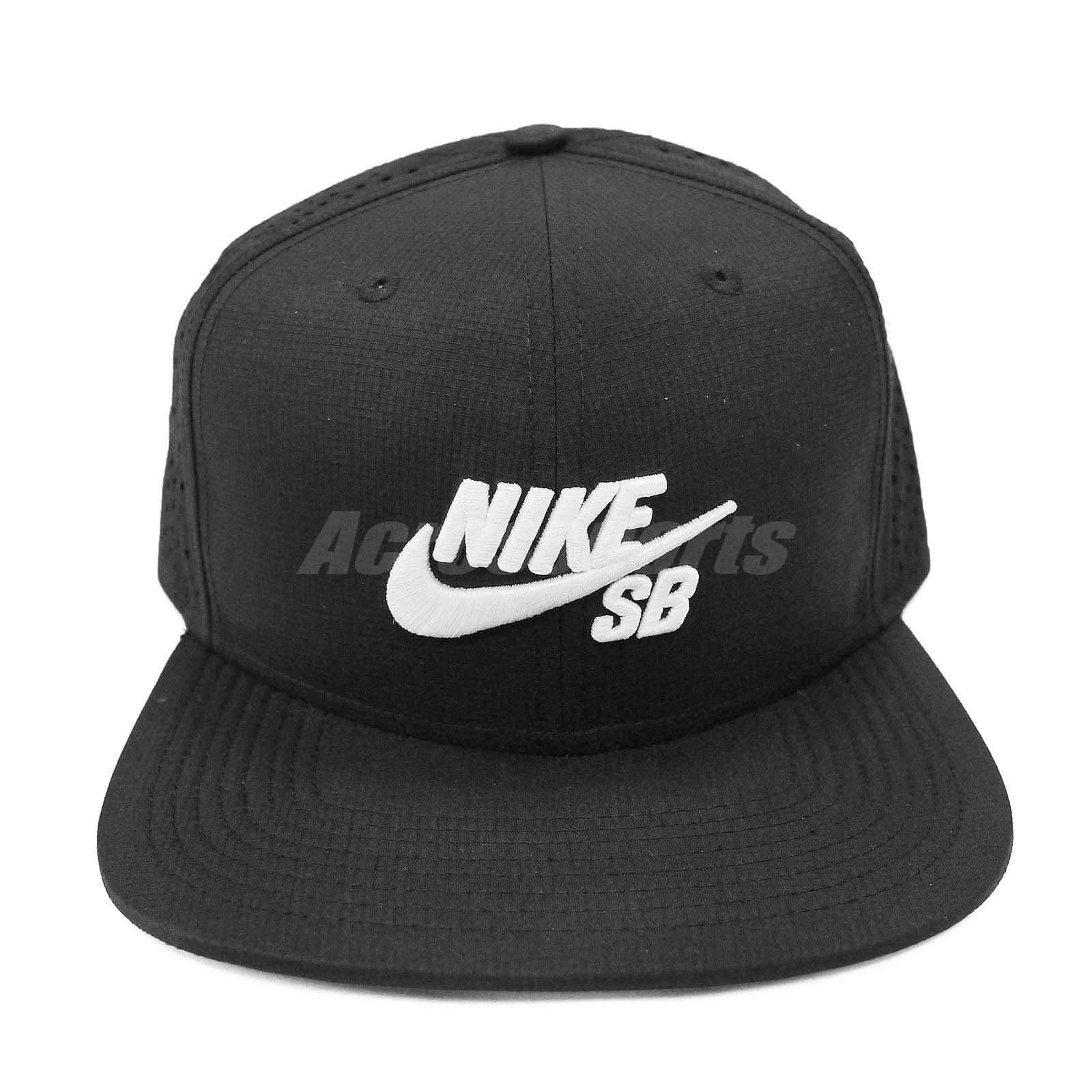 Nike SB Performance Black White Embroidery Mens Trucker Hat Cap ... 10d1fa24b22