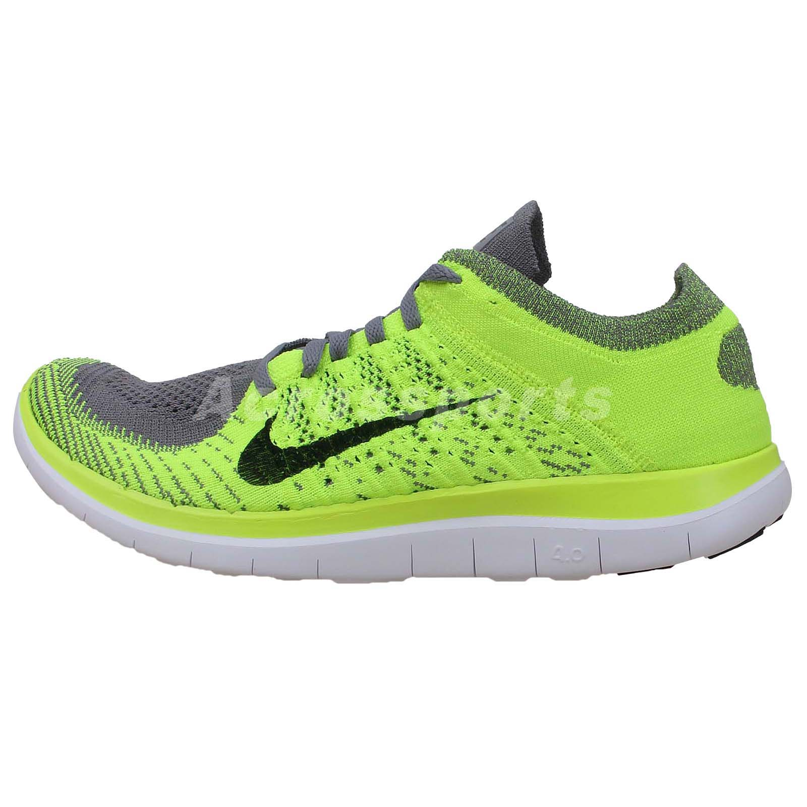 Nike Free Flyknit 4.0 Grey Volt Barefoot Running Shoes Run ...