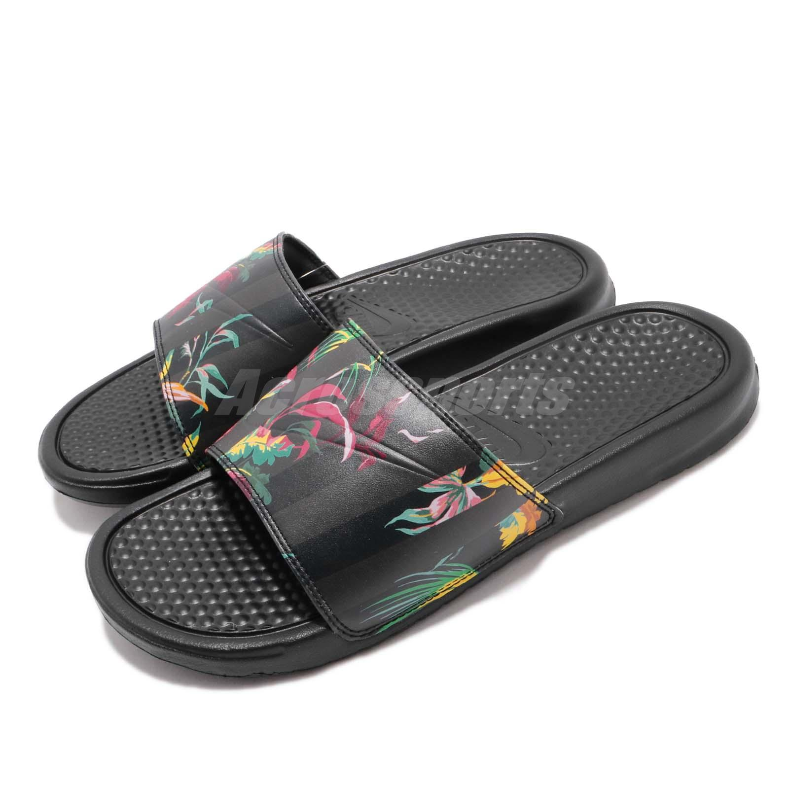 buy popular abbda 8e4a8 Details about Nike Benassi JDI Print Black Floral Just Do It Slide Slipper  Sandal 631261-023