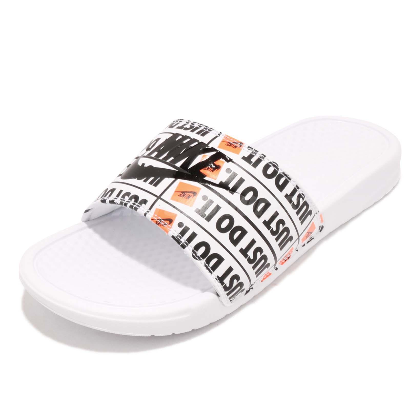 ce6be81b5bf5 Nike Benassi JDI Print Just Do It White Black Men Sports Sandals 631261-102