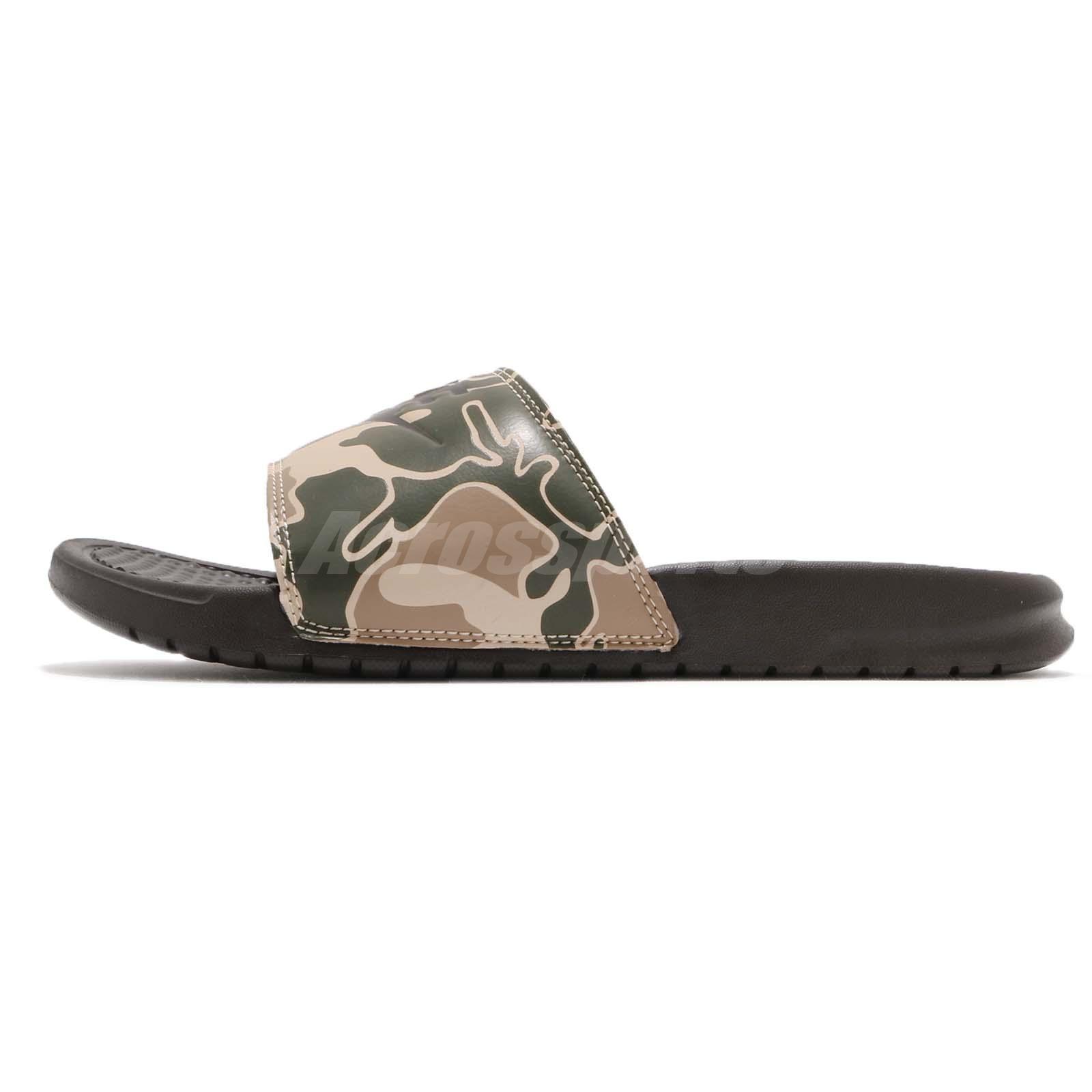 410d7f59c403 Nike Benassi JDI Print Velvet Brown Green Camo Men Sports Sandals ...