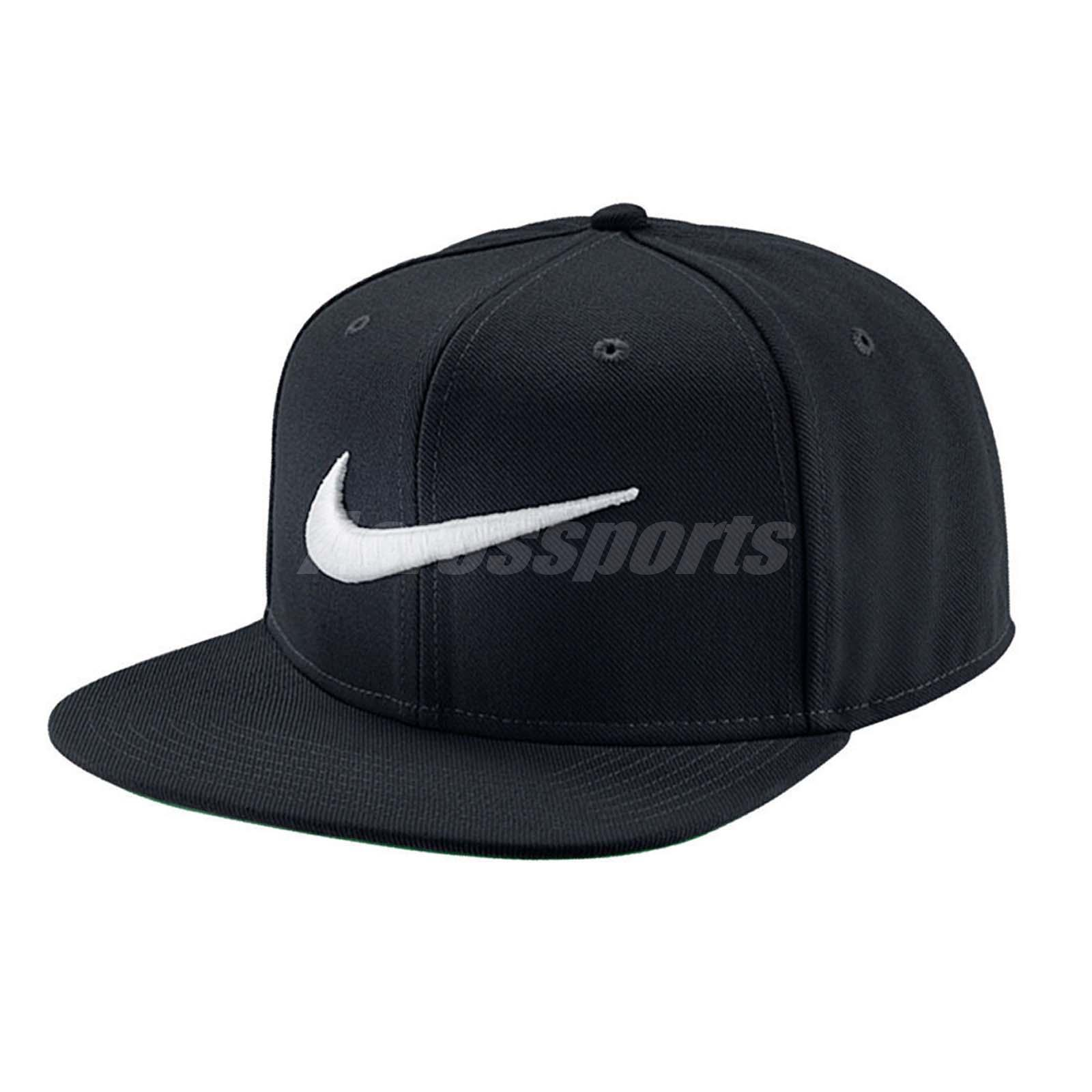 33367b8931a Details about Nike Swoosh Pro Black White Embroidery Mens Snapback  Adjustable Hat 639534-011